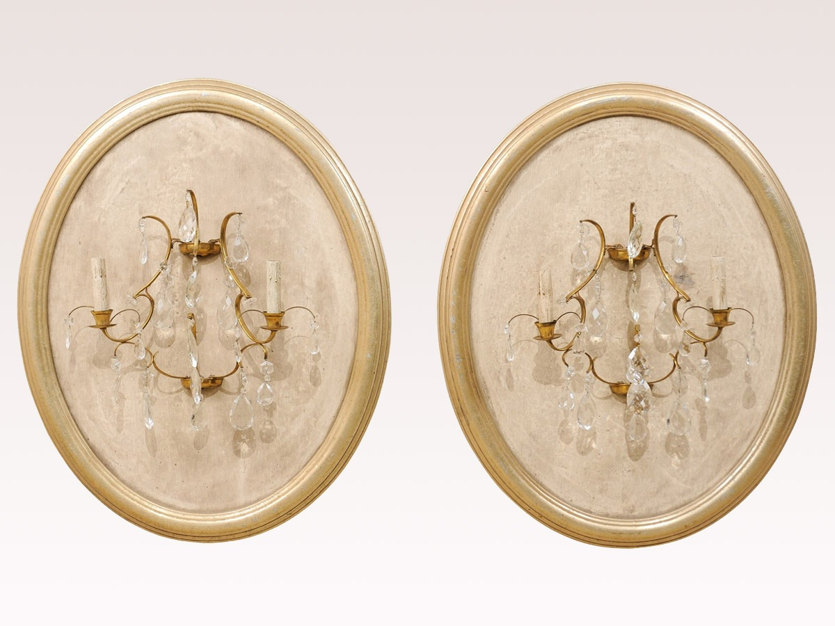 Crystal Sconces on Oval Plaque