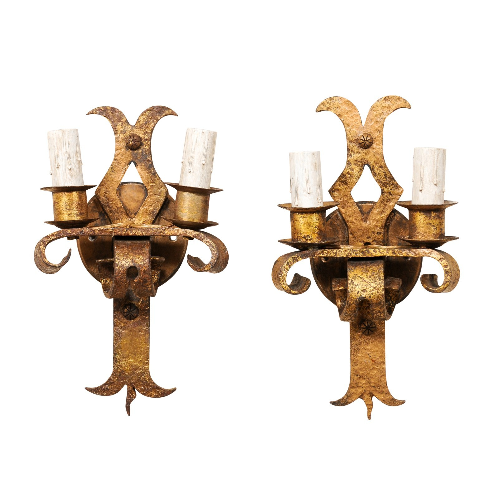 Pair French Gold-Tone Iron 2-Light Sconces