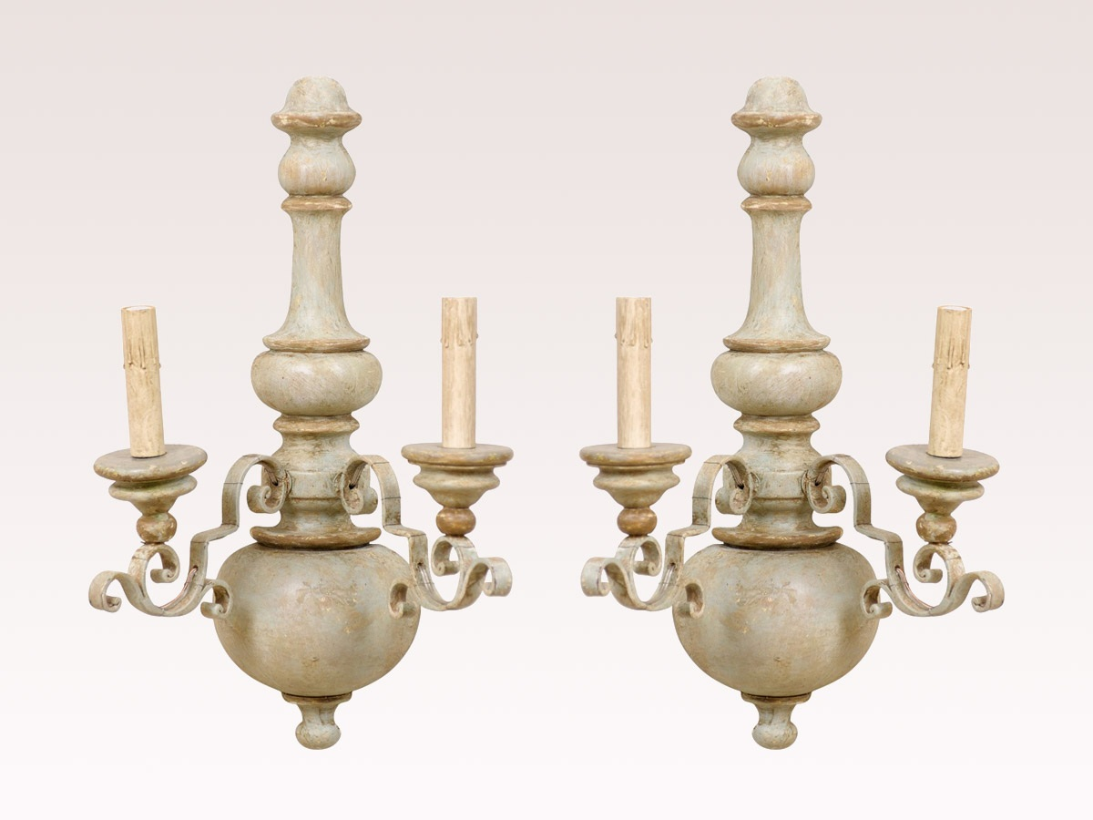 A Pair of Two-Light Wood Sconces