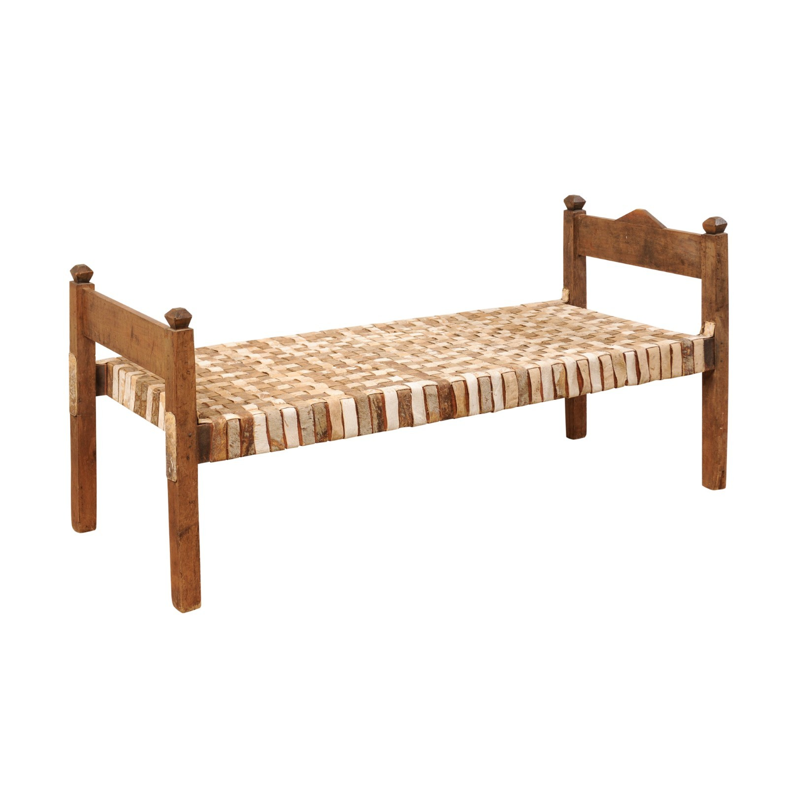 Woven Leather & Wood Frame Daybed Bench
