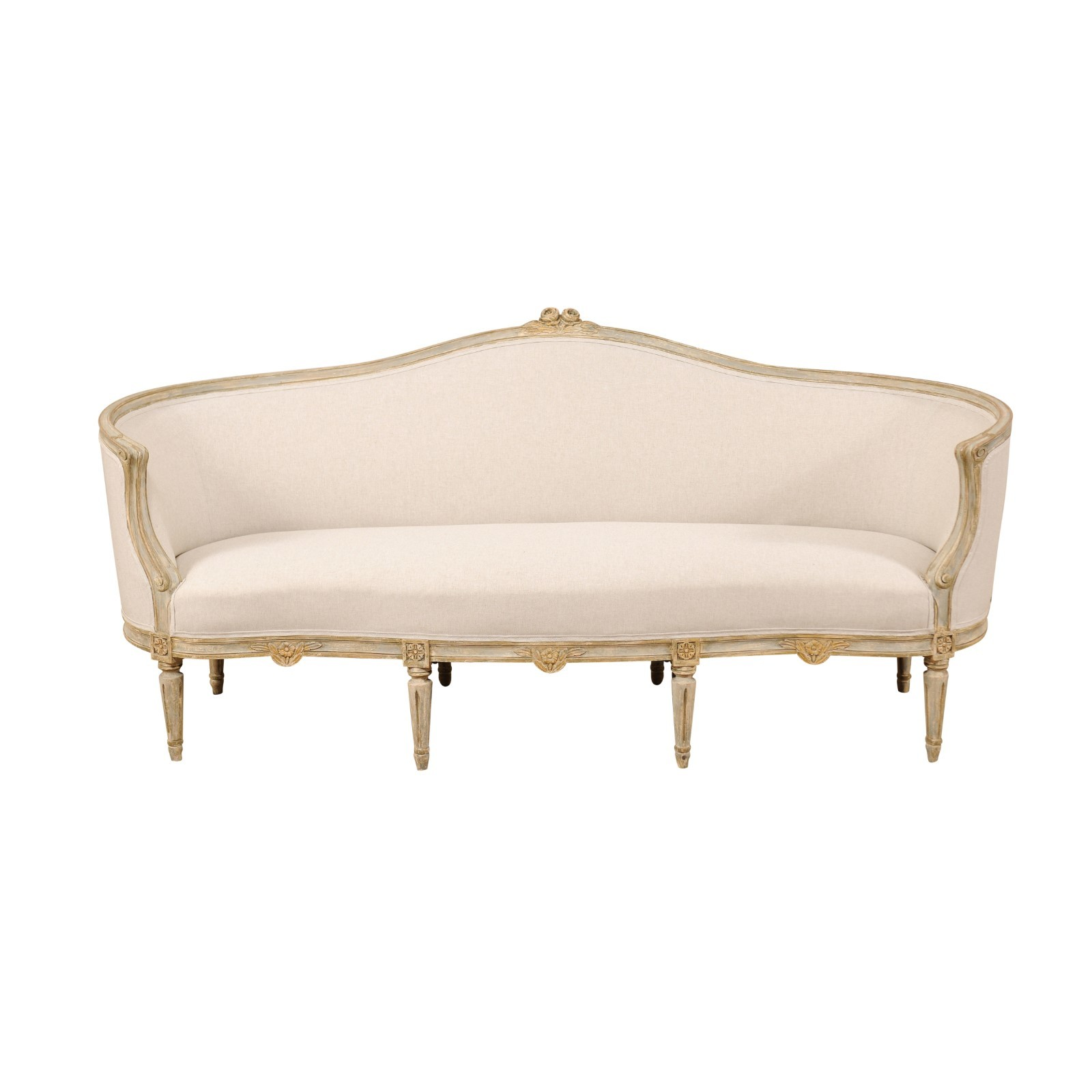 Late Gustavian Barrel-Back Upholstered Sofa