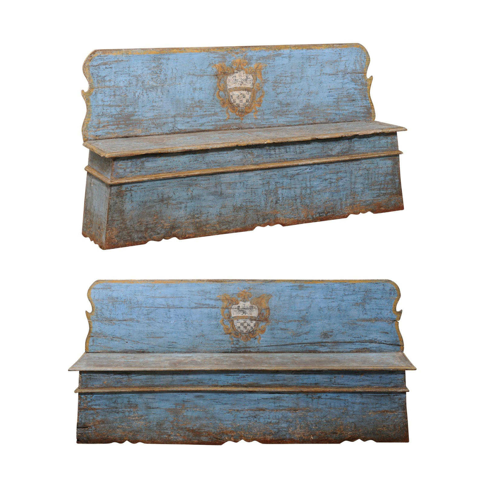 Italian Pair 19th C. Blue Painted Benches
