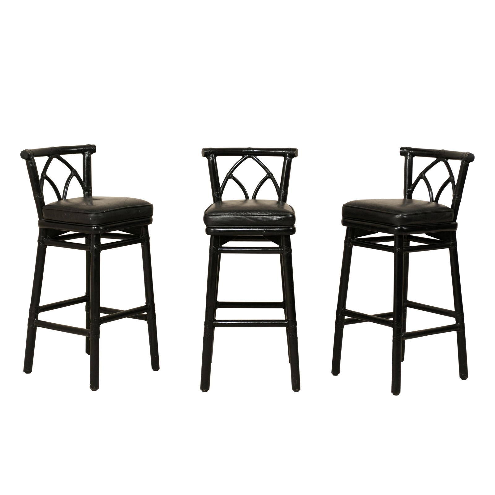 Set of McGuire Rattan Bar Stools