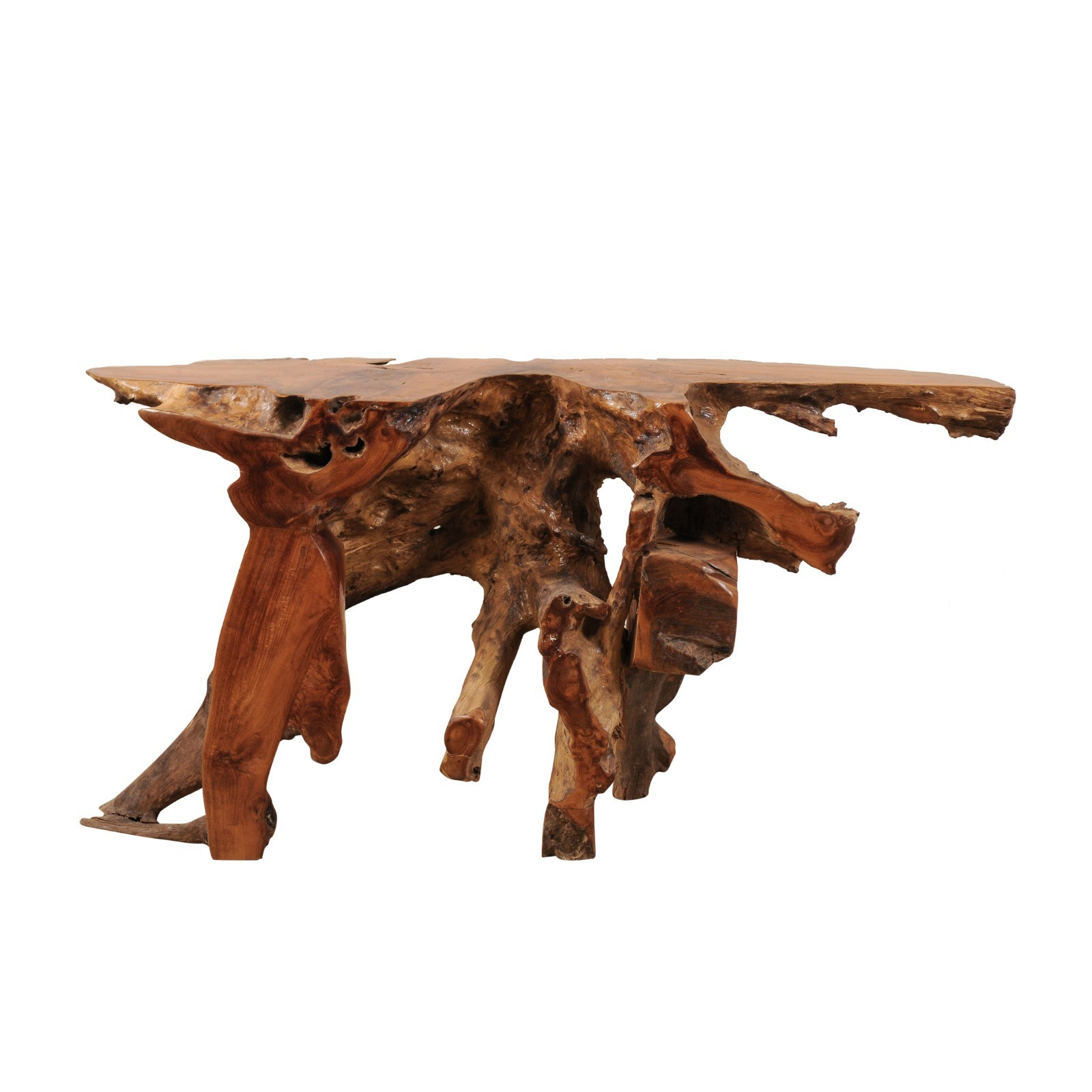 Natural Teak Root Console Table