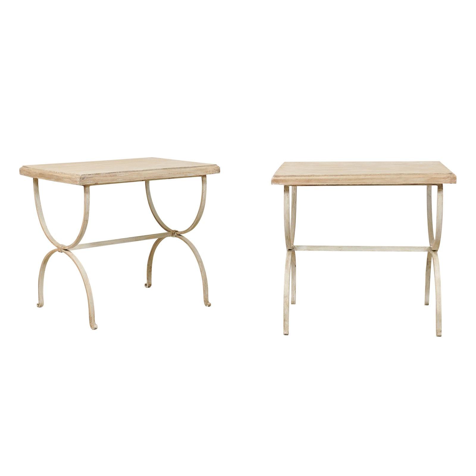 Painted Wood & Iron Side Tables