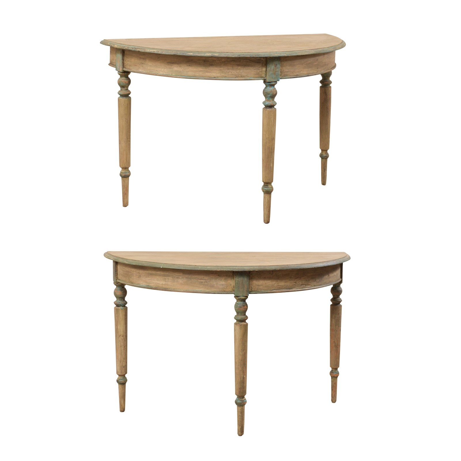Pair 19th C. Painted Demilune Tables