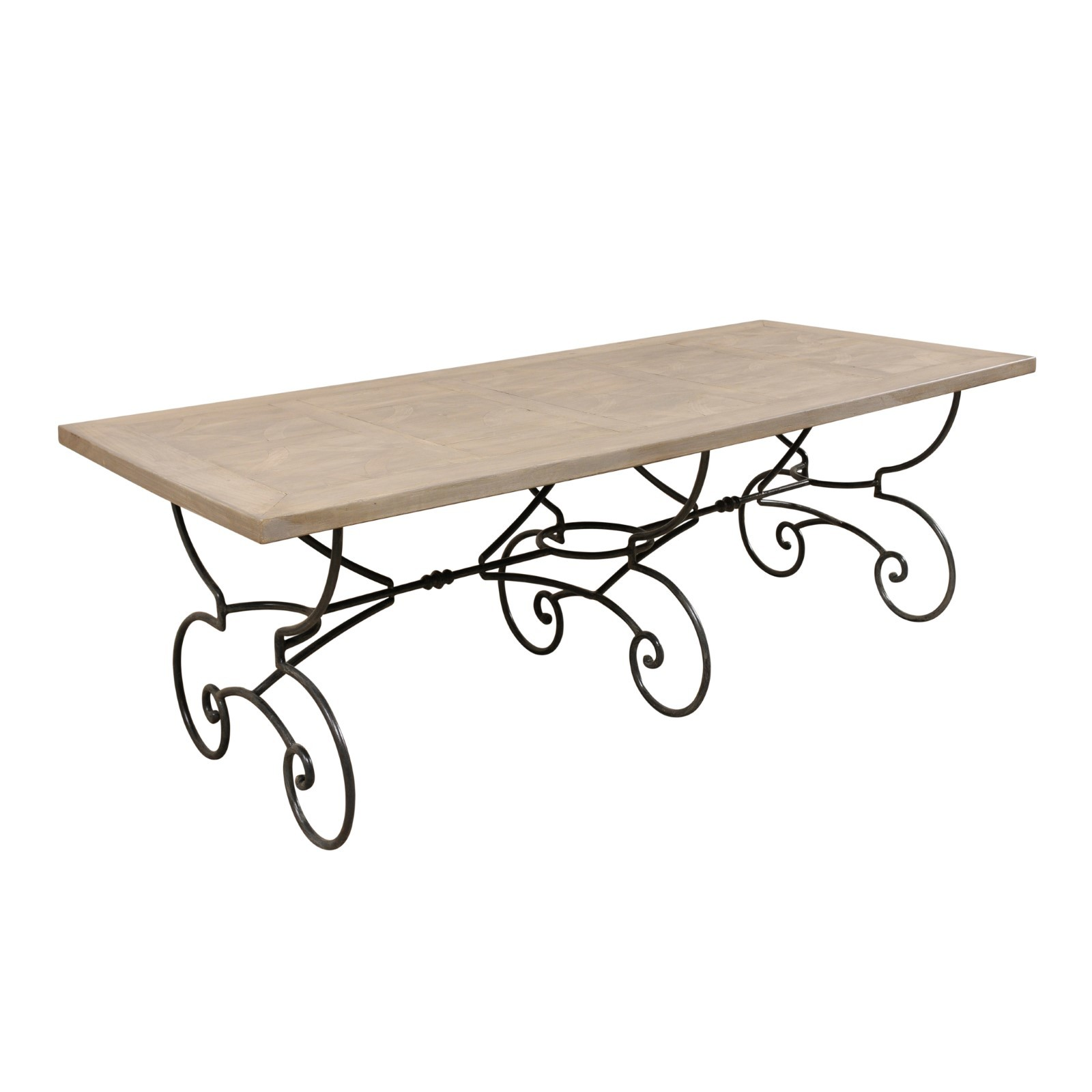French Inlay Wood Top Table w/Iron Base