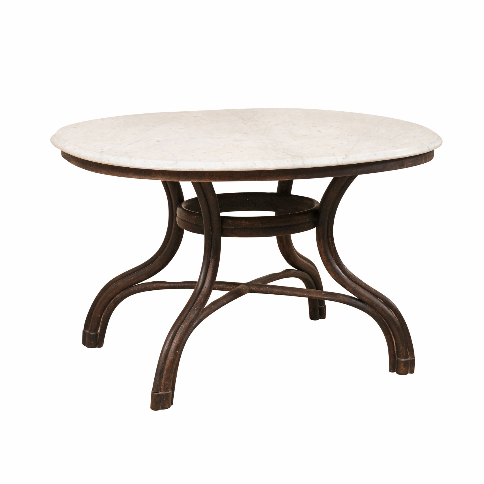 French Oval Table of Marble & Bentwood