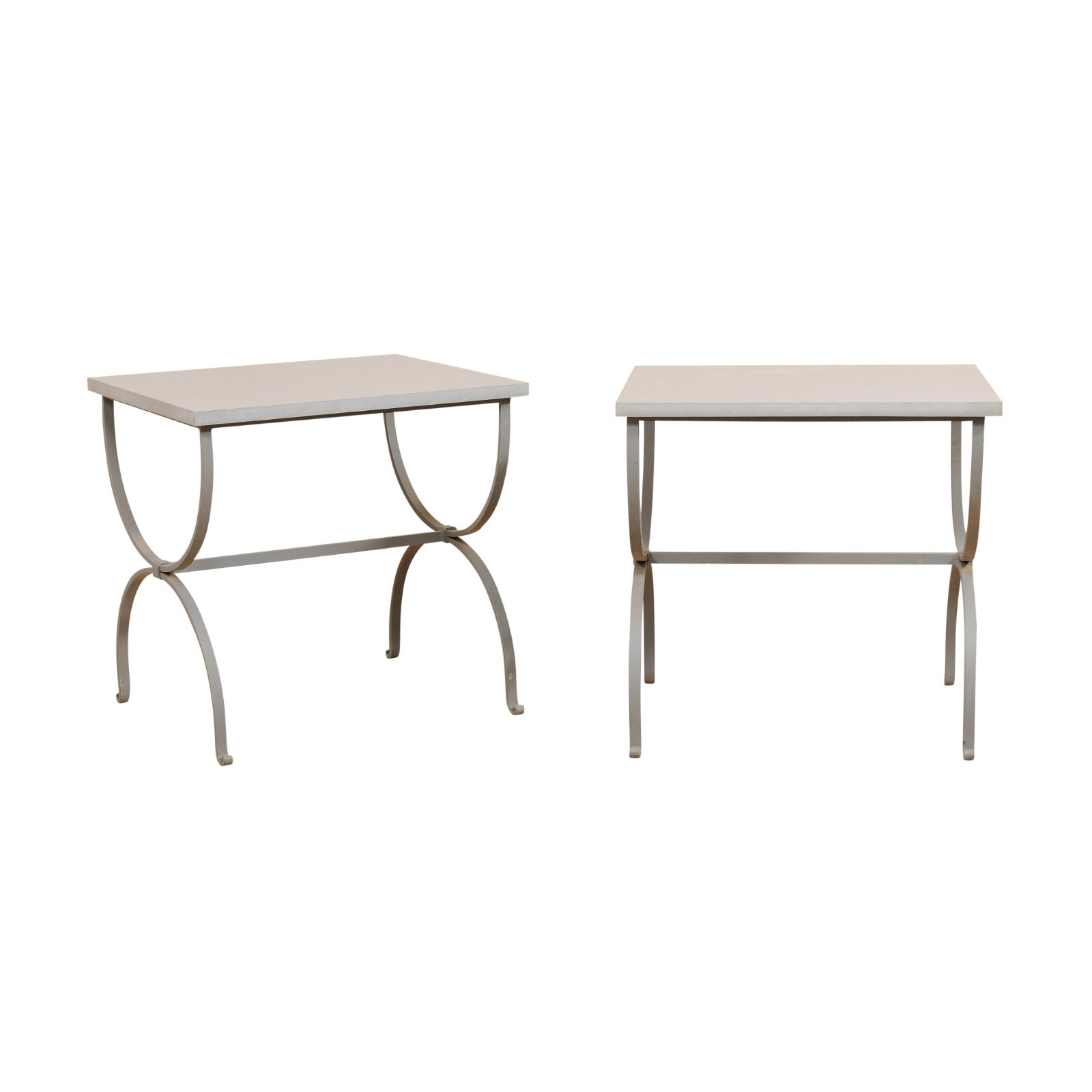 Pair Grey Stone & Iron Curule Tables