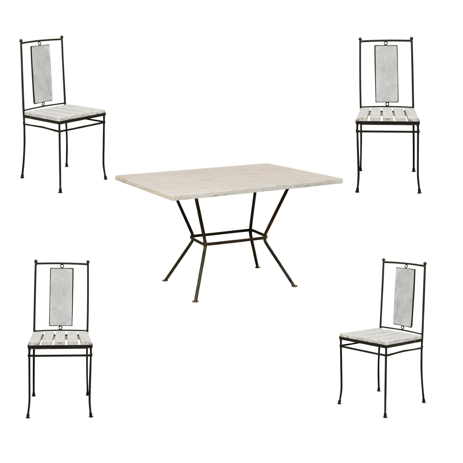 Marble Top Patio Dining Set w/4 Chairs