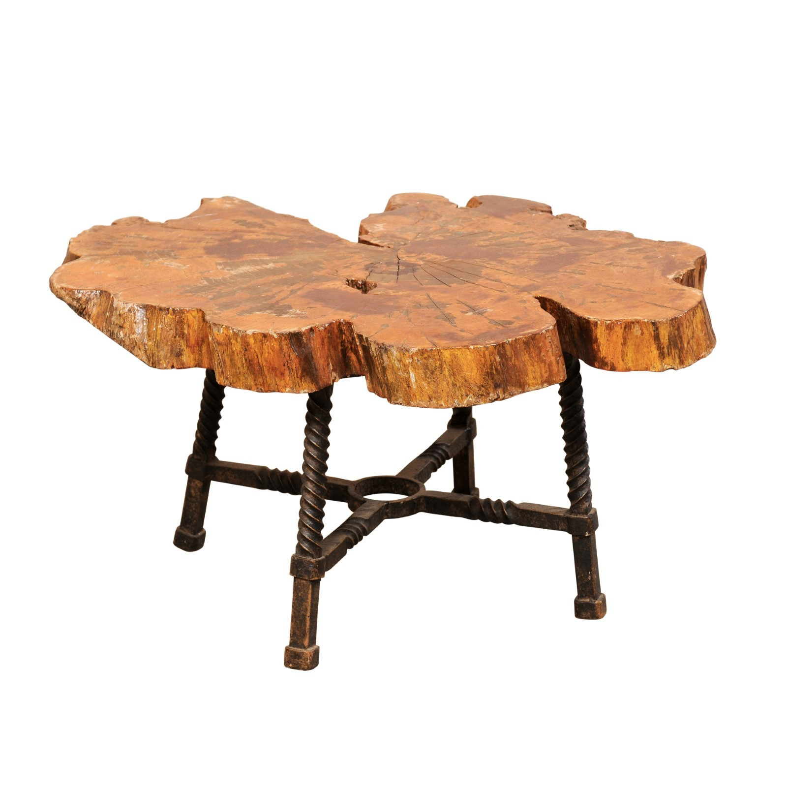 Live-Edge Wood & Forged Iron Coffee Table