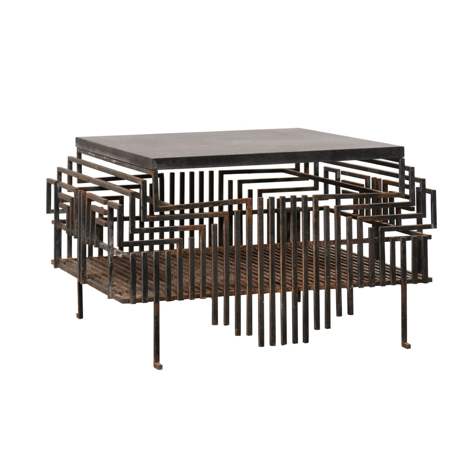 French Iron Fireplace Grate Coffee Table