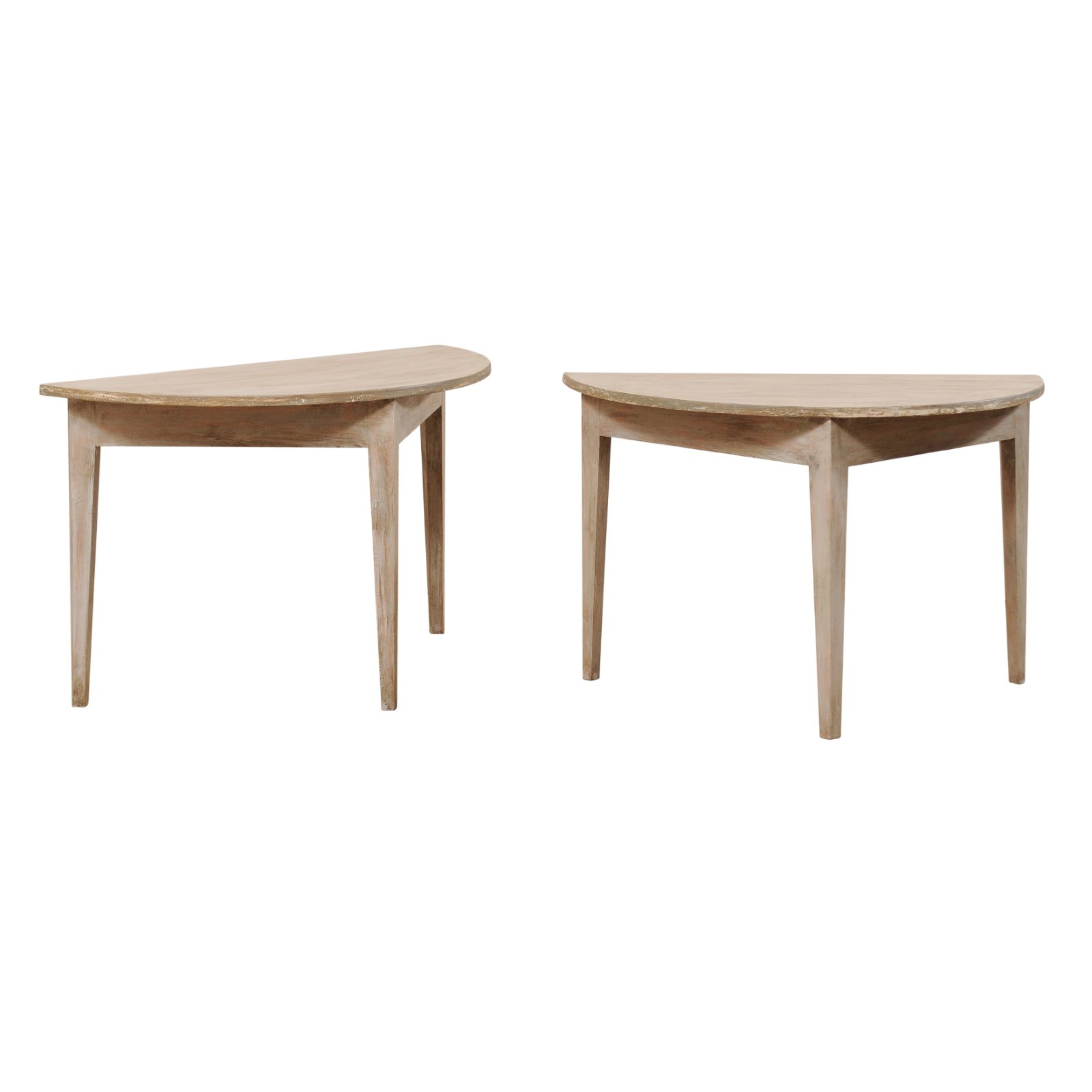Pair Antique Swedish Demi-Lune Tables