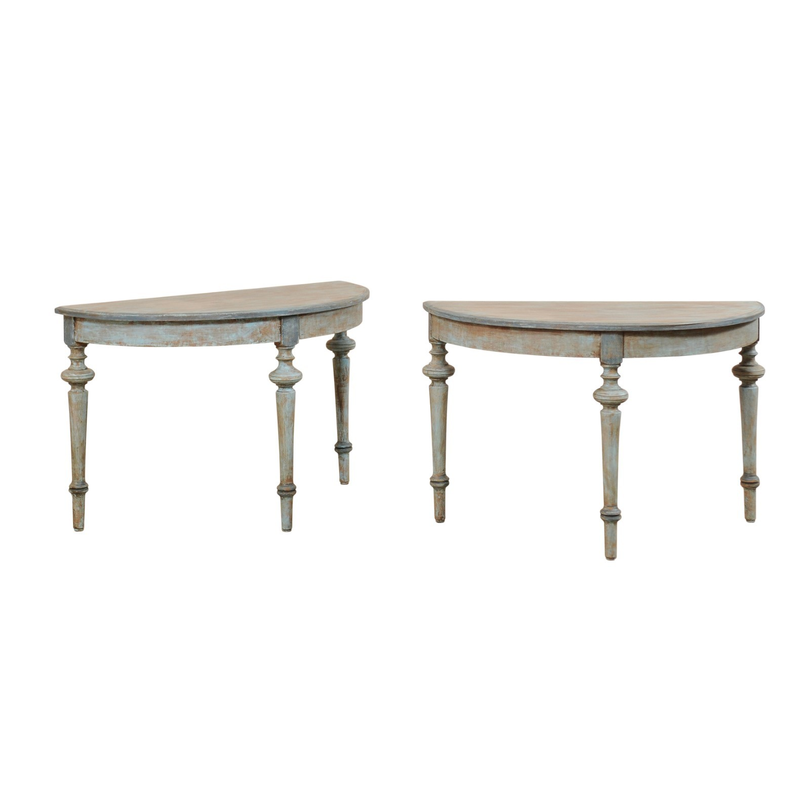 Pair Swedish Demi-Lune Tables in Blue