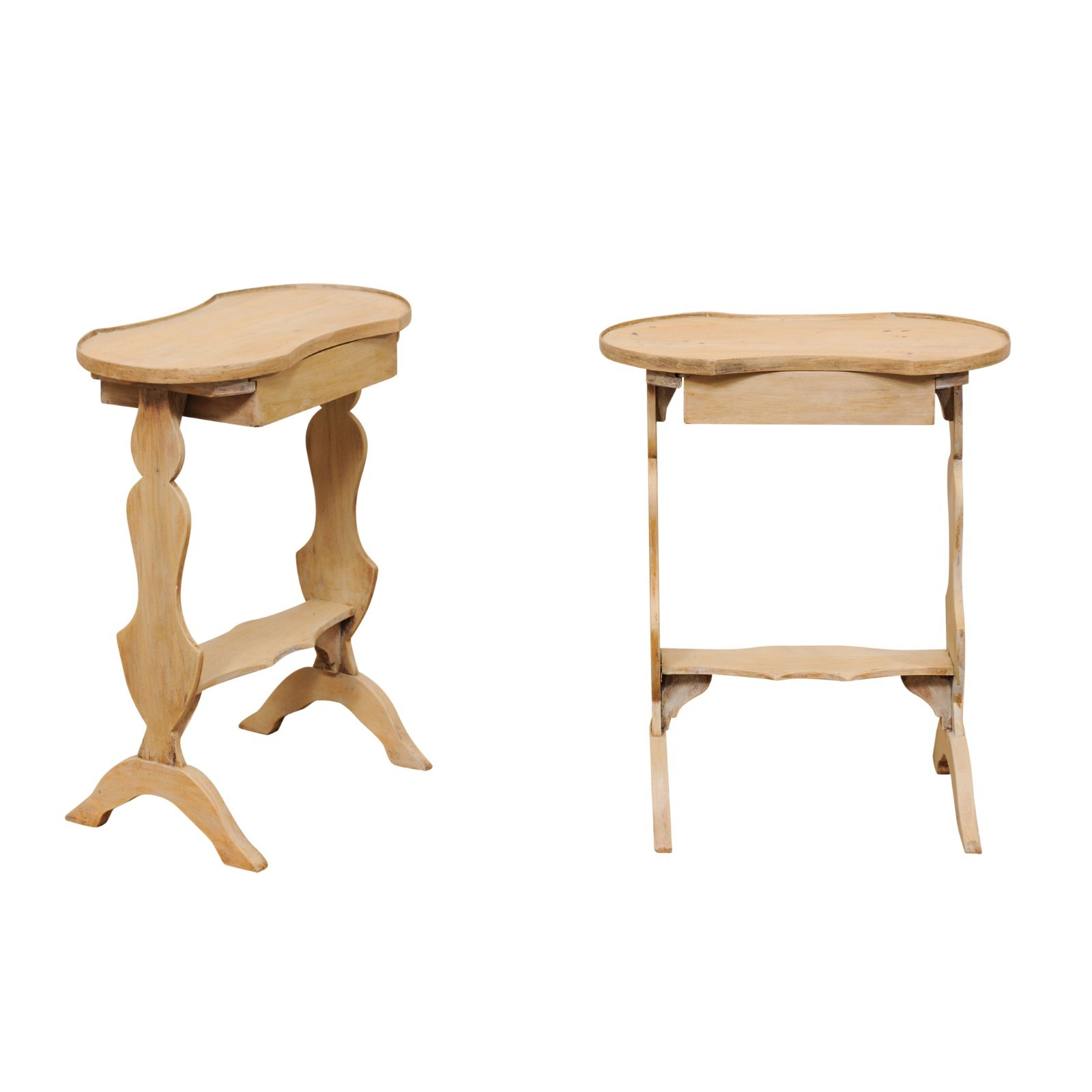 Pair Petite Side Tables w/Small Drawer