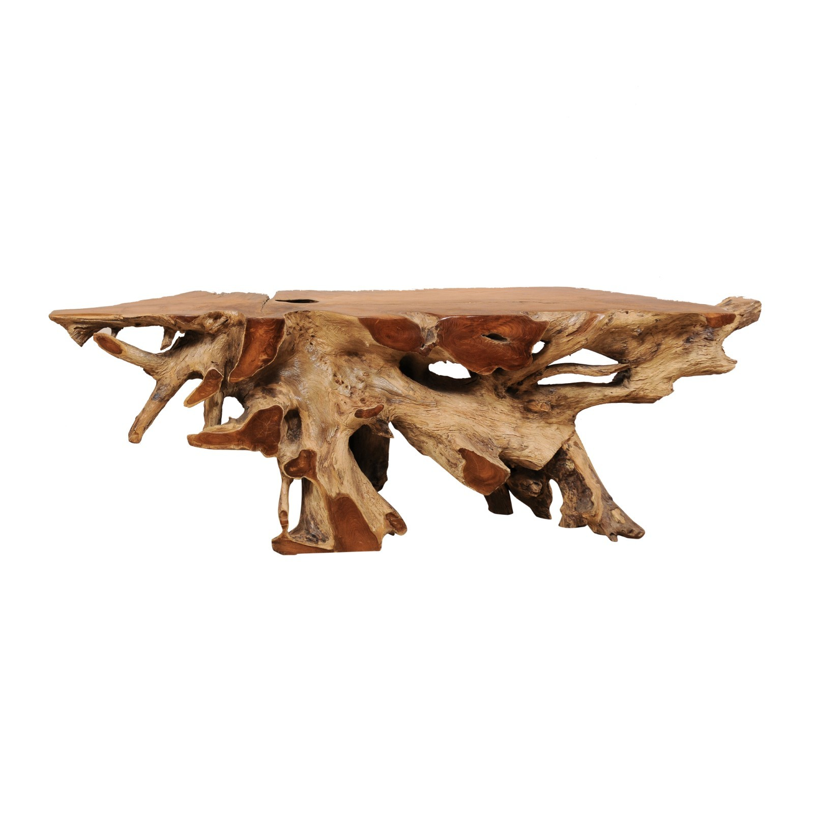 7+ Ft Long Natural Teak Root Console