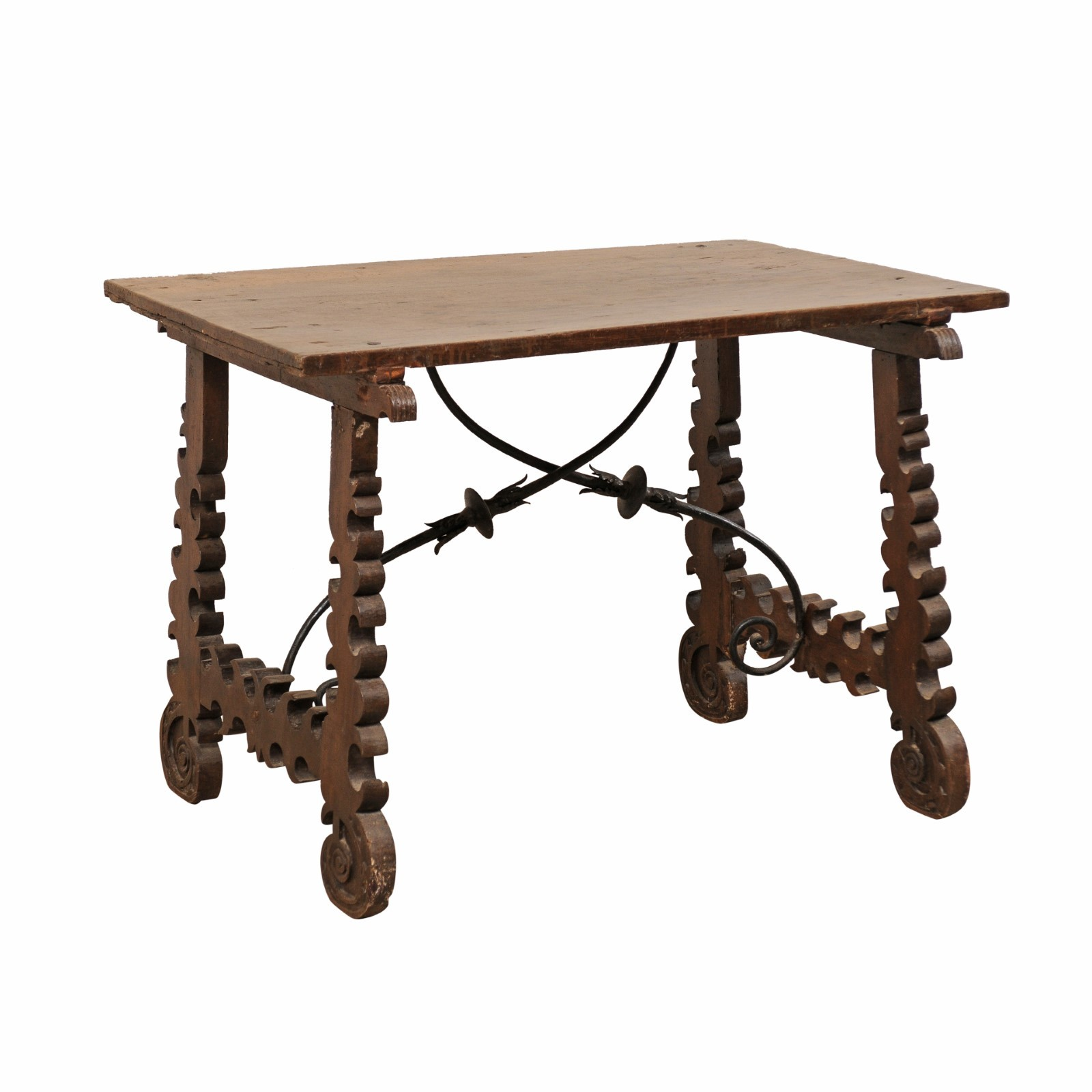 Spanish 18th C. Table w/Iron Stretcher