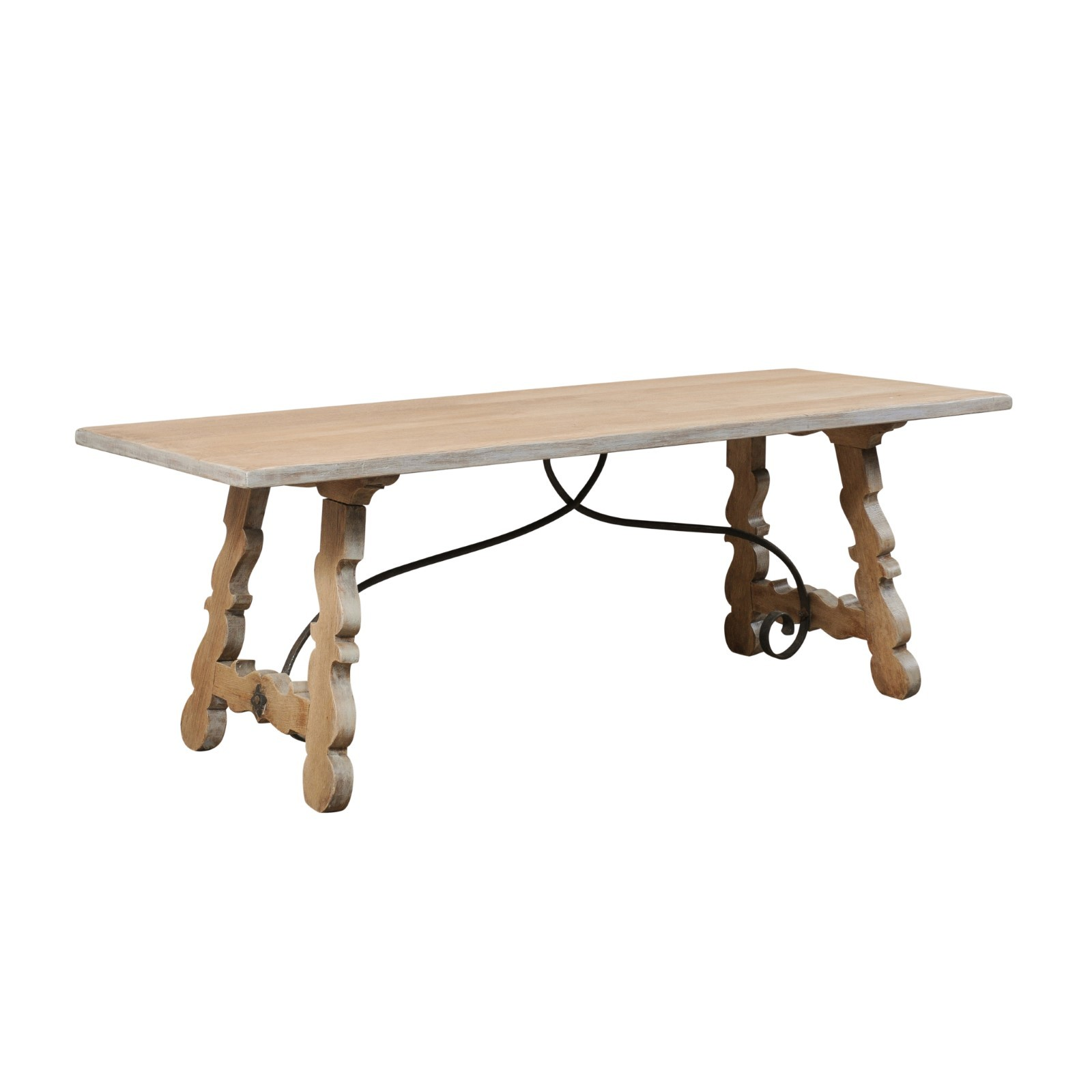French Oak Trestle Table w/Iron Stretcher