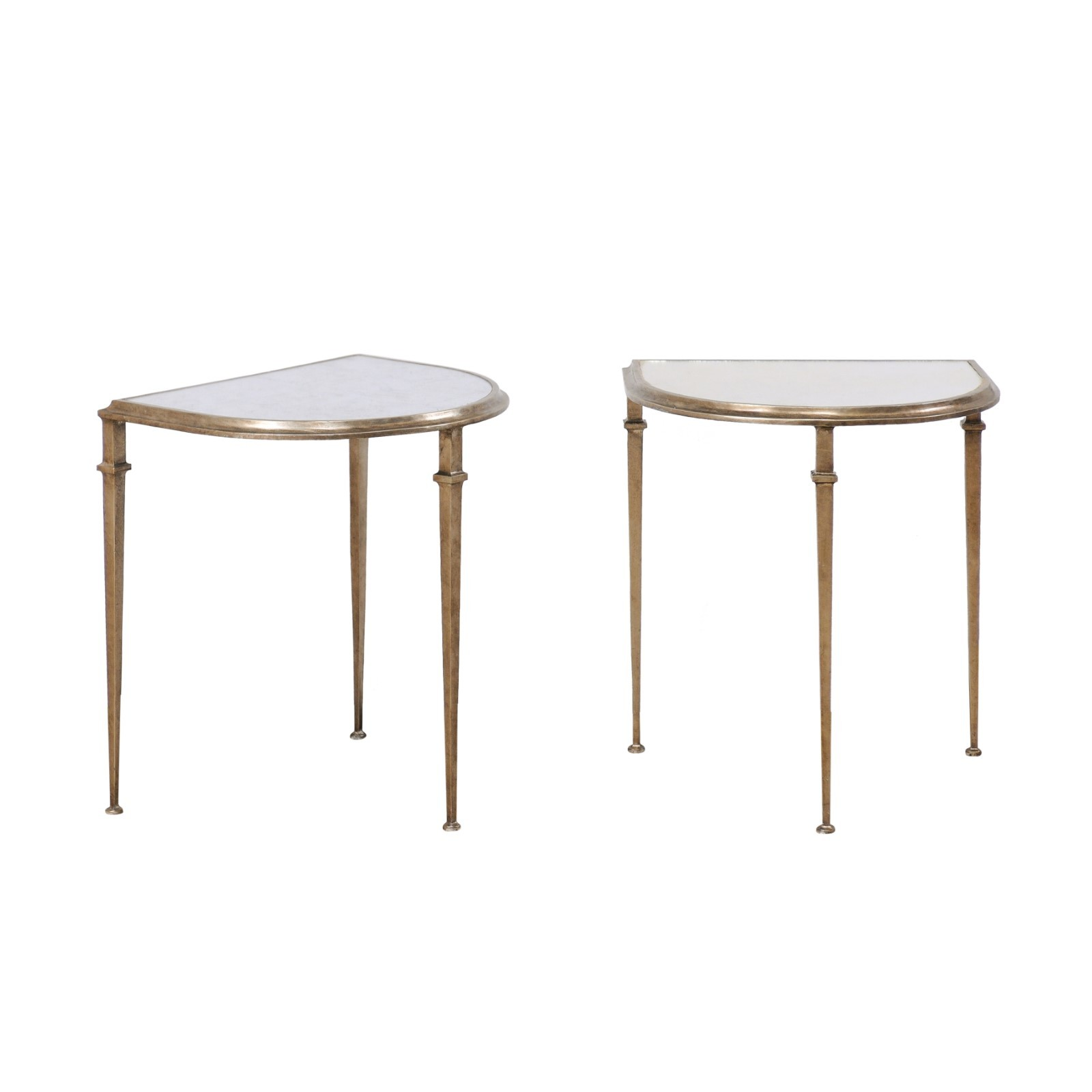 Pair Side Tables w/Halved-Oval Mirror Tops