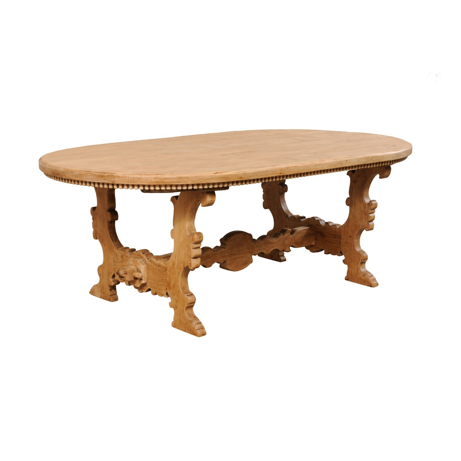 Nicely Carved & Trimmed Oval Trestle Table