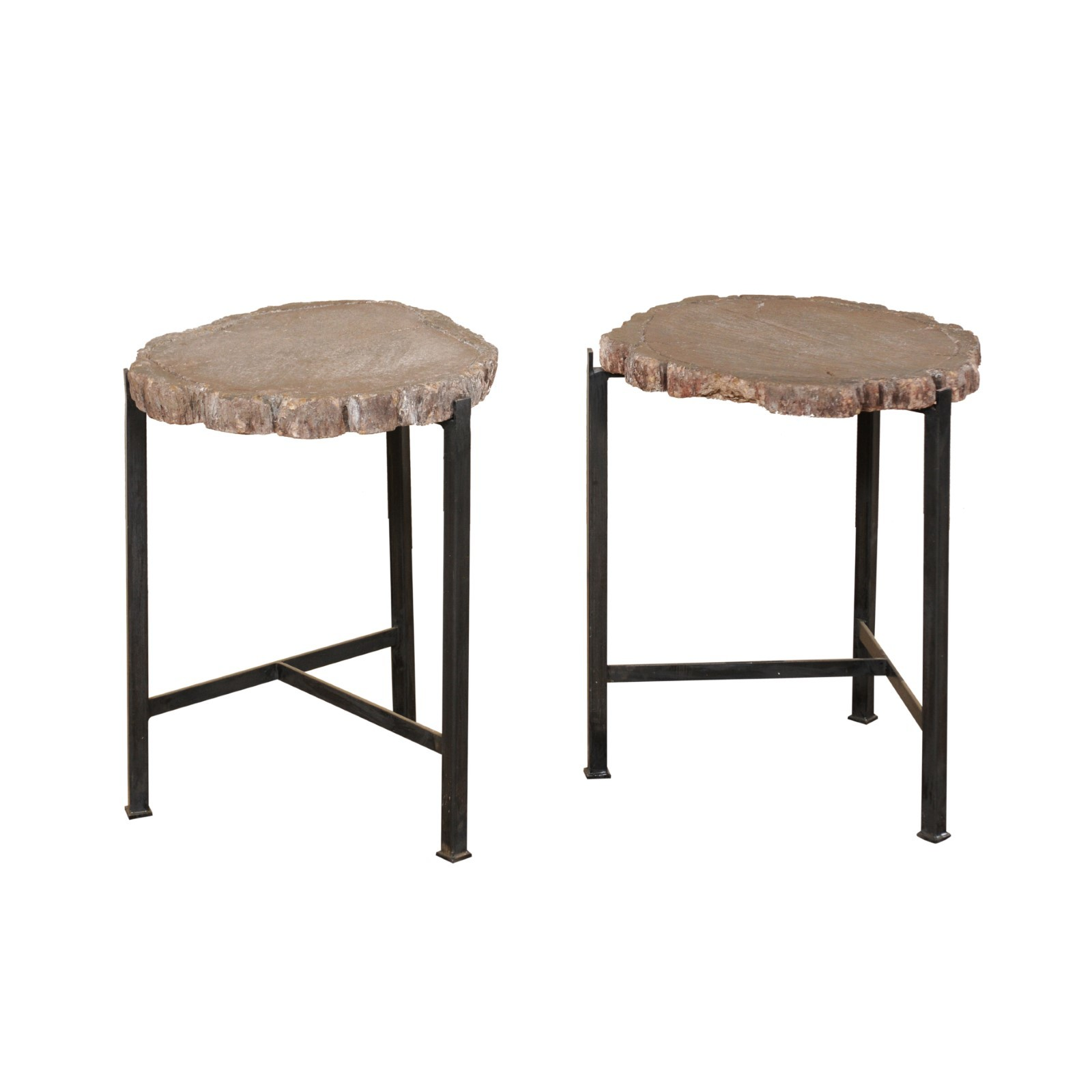 Pair French Faux Bois Top Side Tables