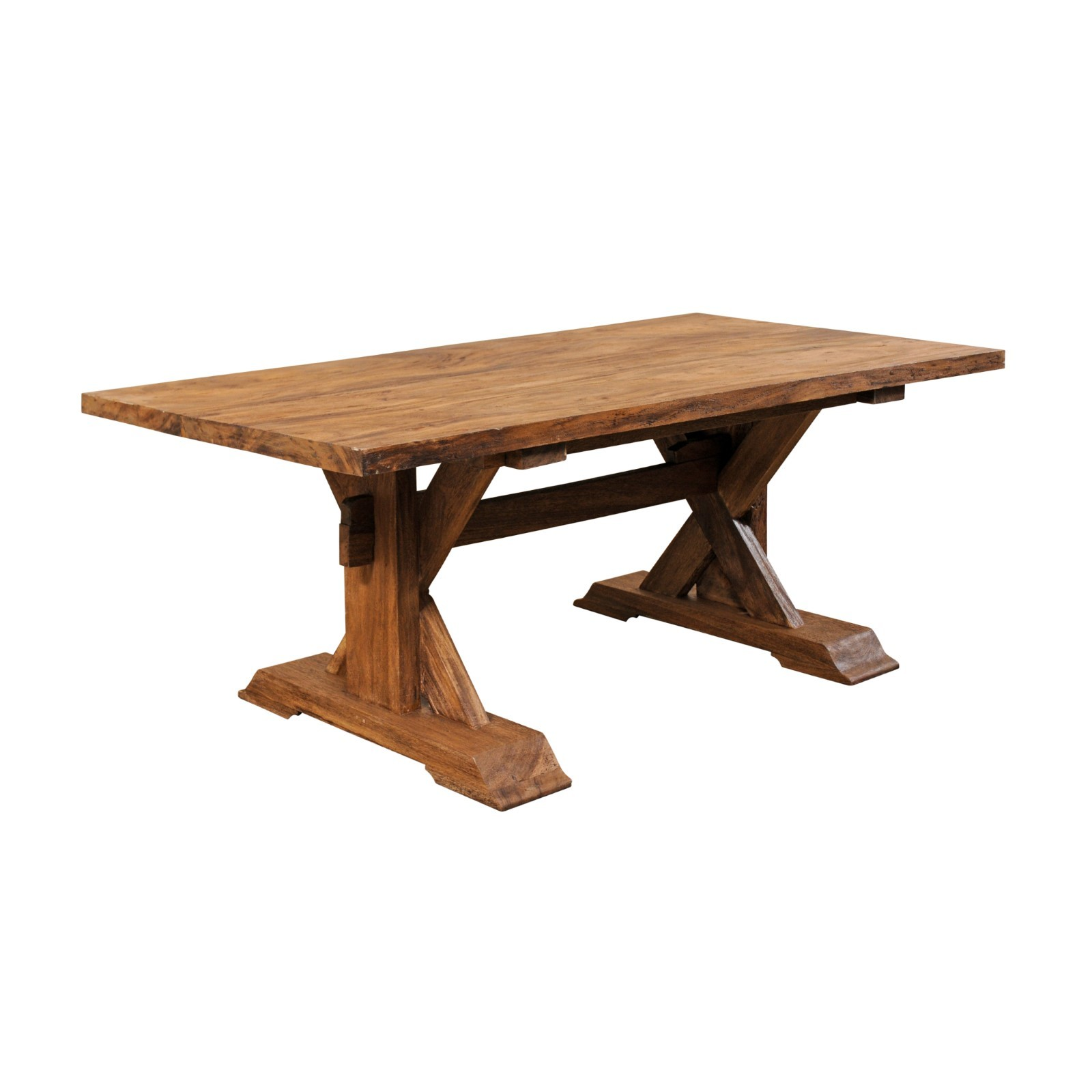 Rectangular-Top Trestle Table, 6.5+ Ft