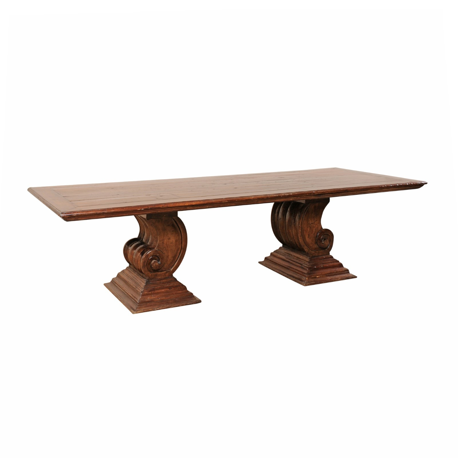 Dining Table w/Thickly Carved Scroll Bases
