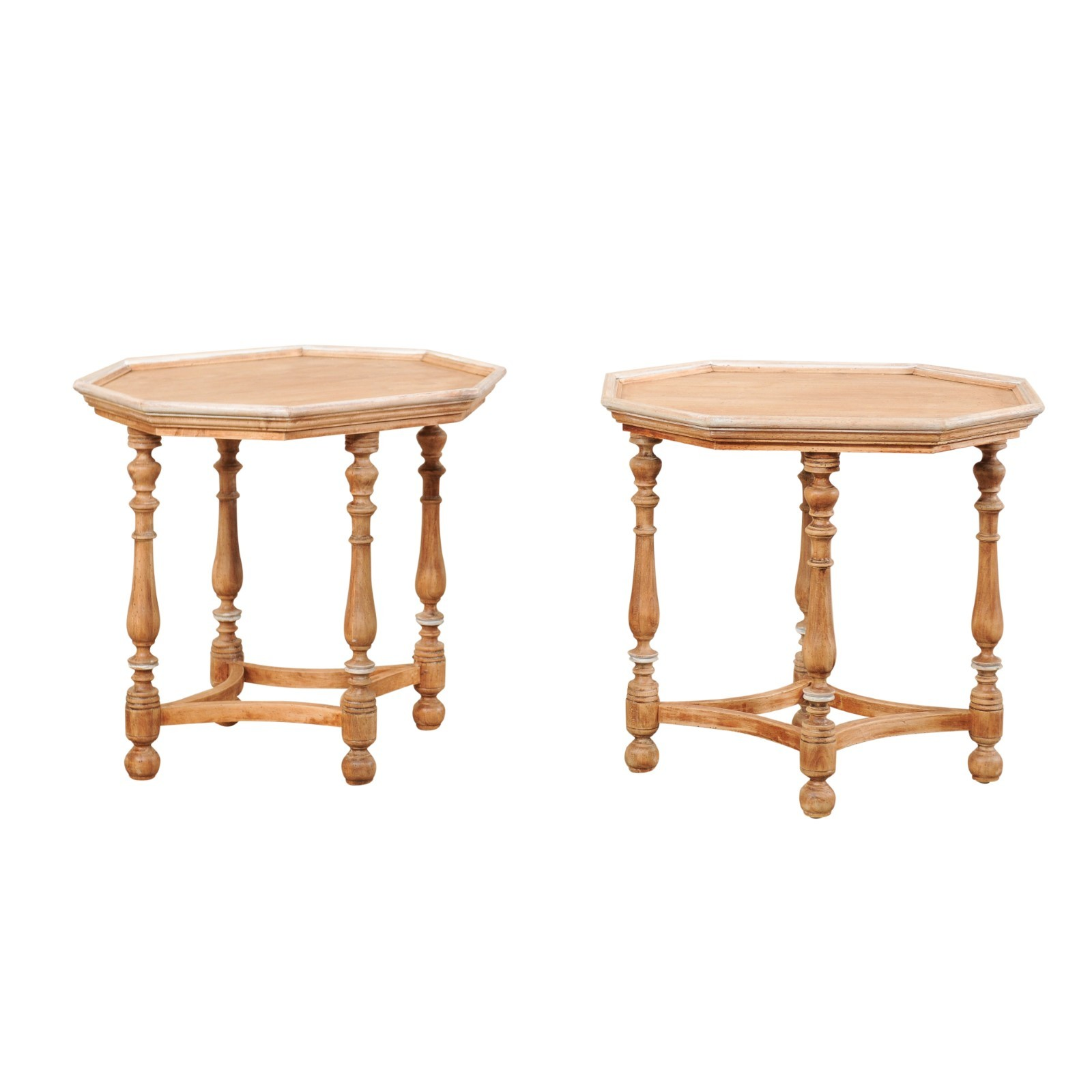 Pair Octagonal Top Carved Wood Side Tables