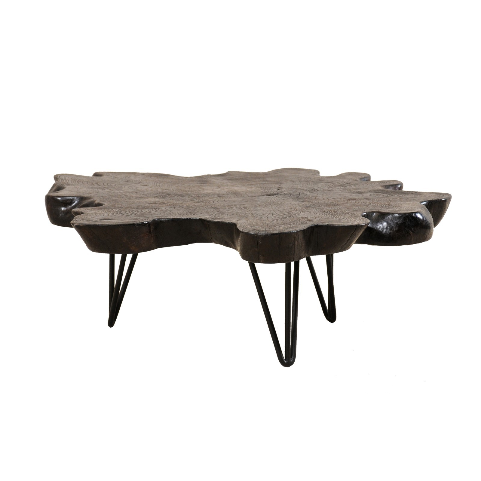 Carbonized Teak Slab Top Coffee Table
