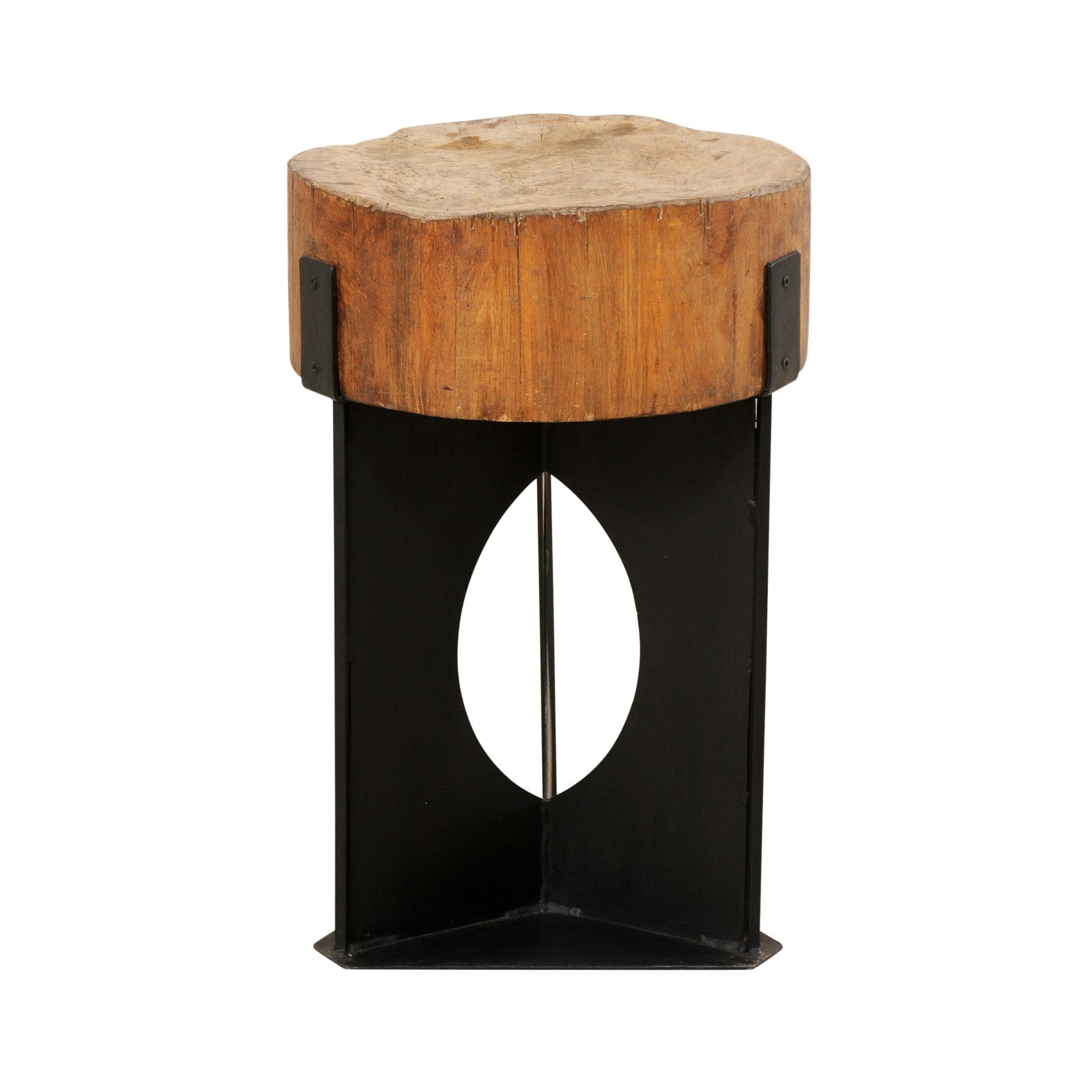 Modern Side Table w/19th C. Chopping Block
