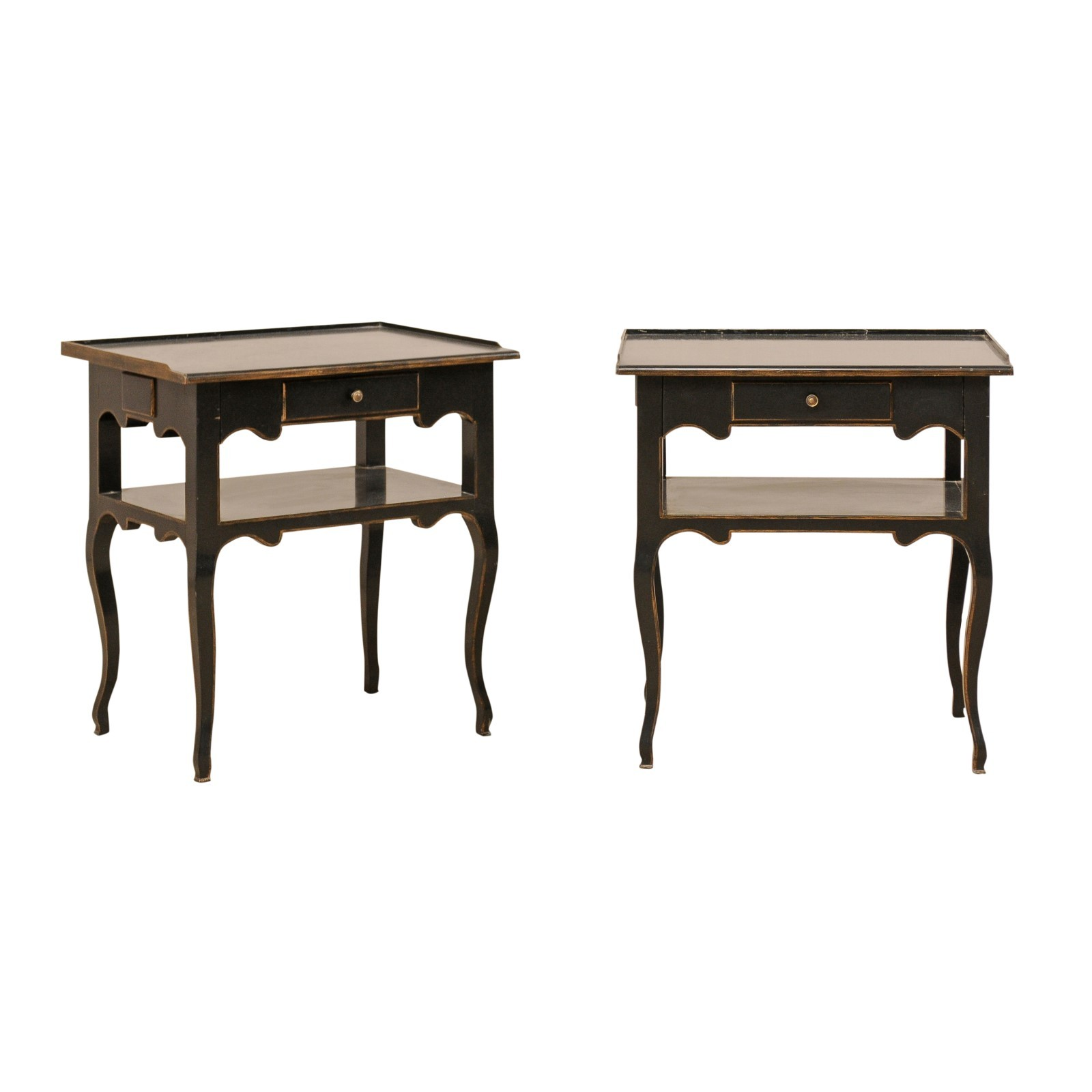 Pair Vintage Two-Tiered End Tables in Black