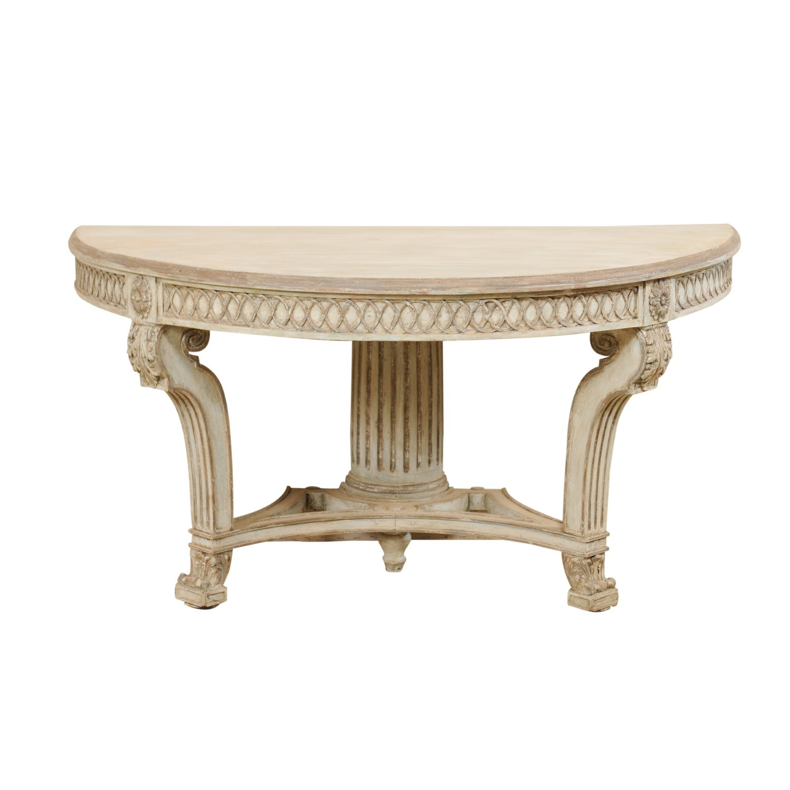 Italian Carved & Painted Demi-Lune Table
