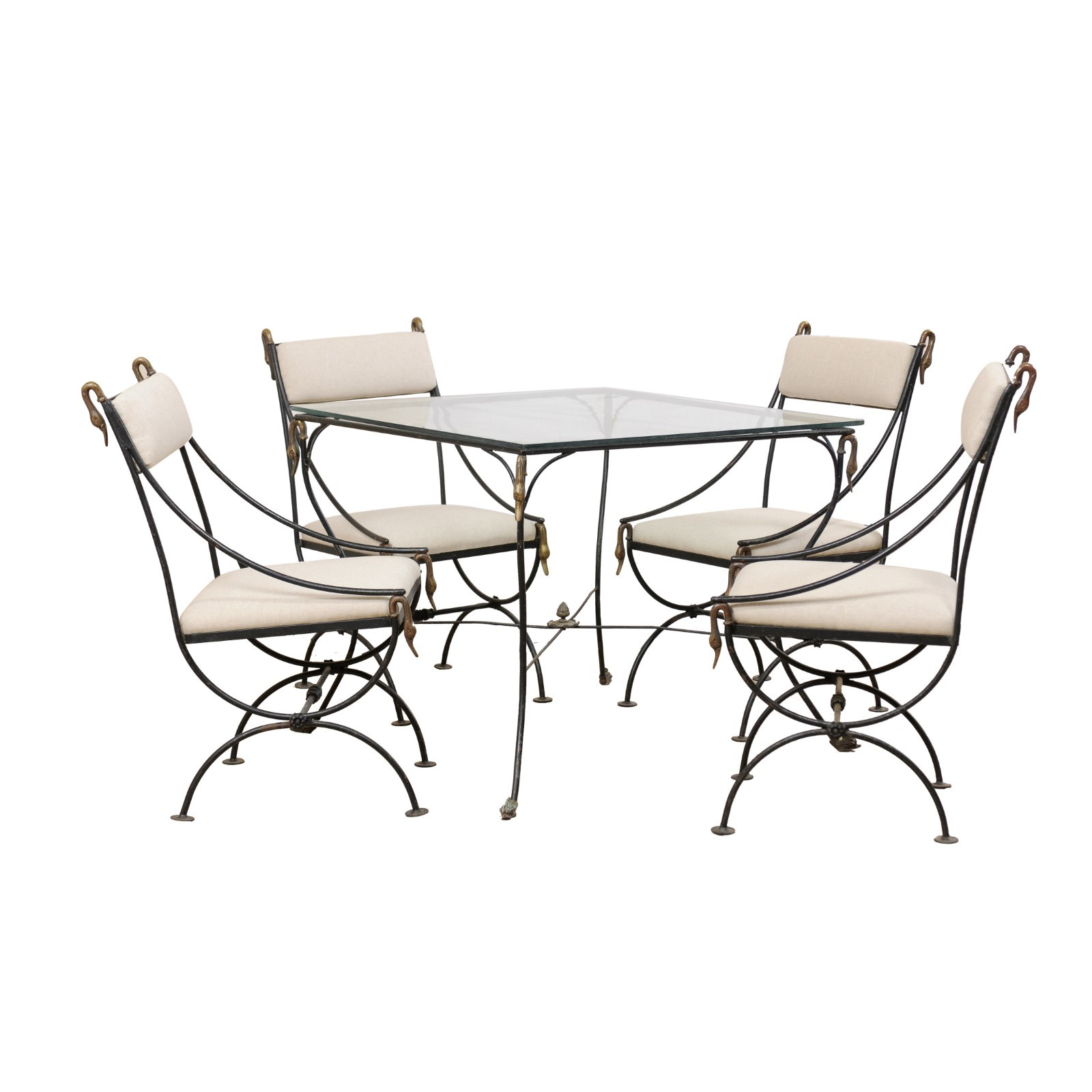 Italian Glass & Iron Table w/ Four Chairs
