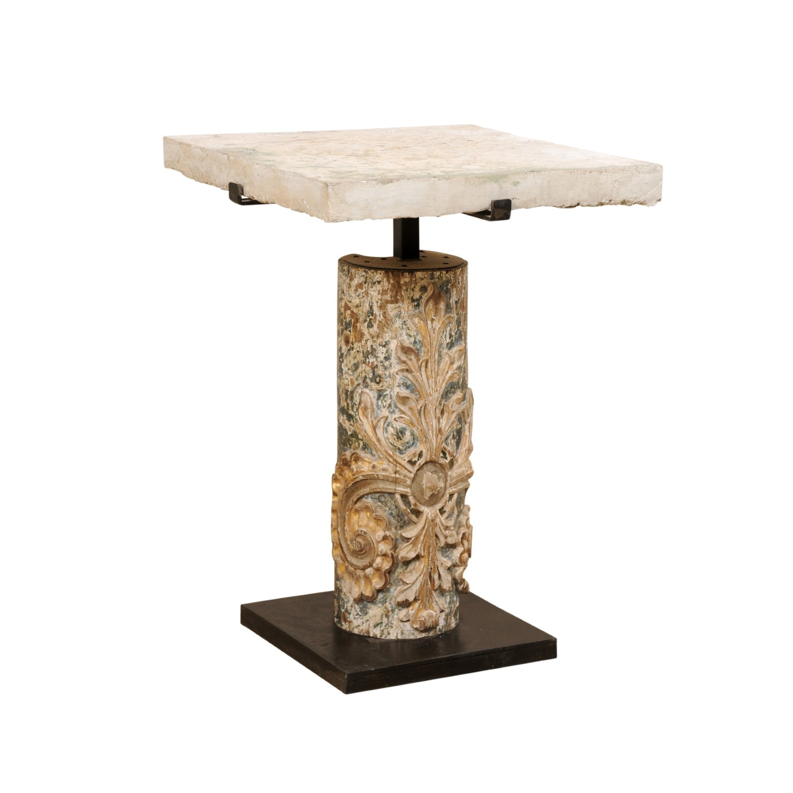18th C. Column & Fossilized Coral Top Table