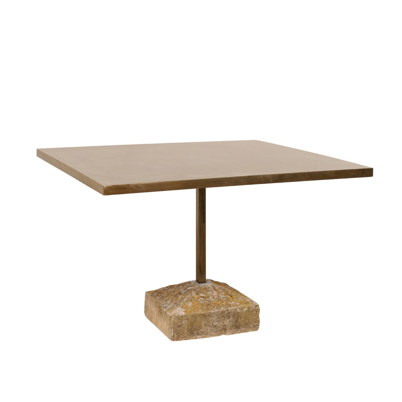 Square Table w/ Spanish Stone Plinth Base