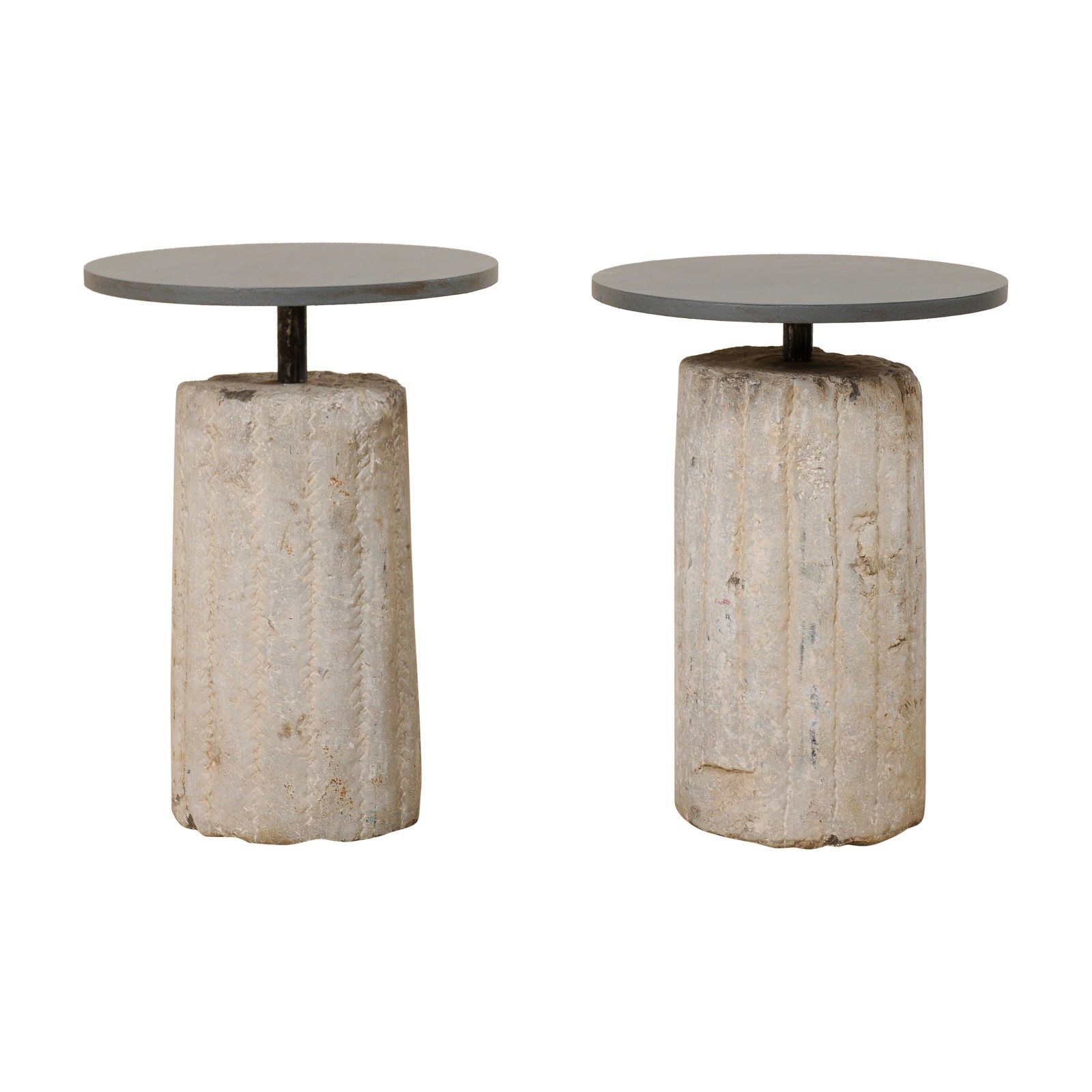 Side Tables w/18th C. Grinding Stone Bases