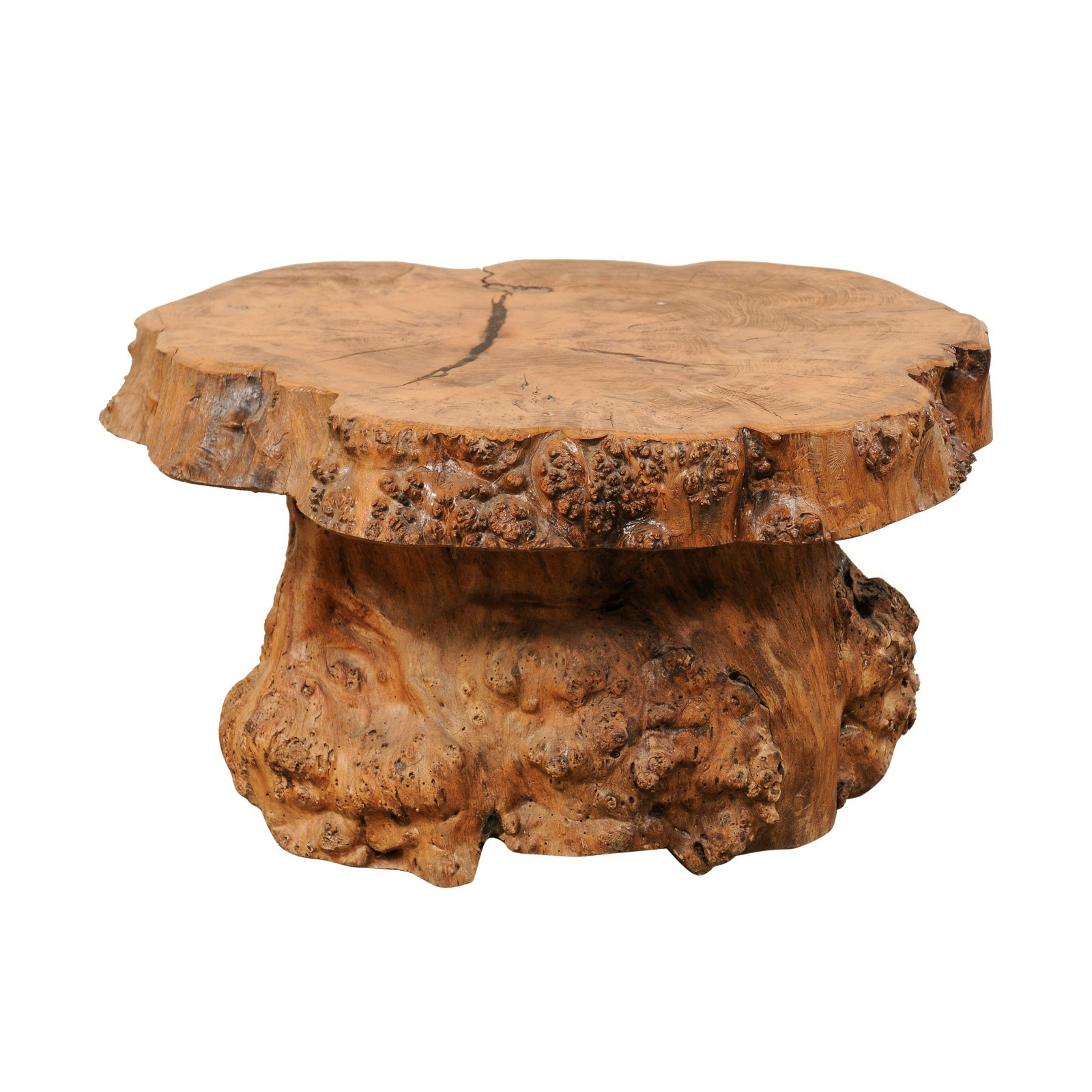French Burl Wood Slab Top Coffee Table