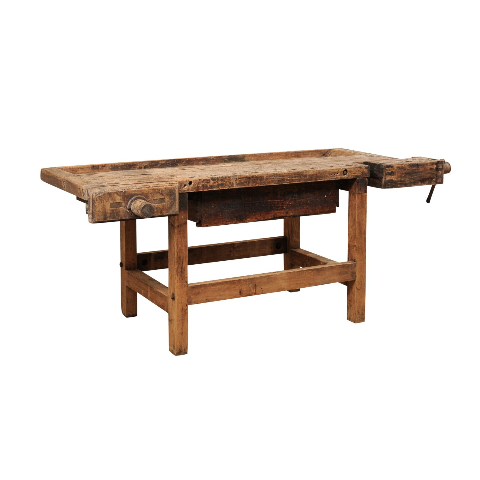Antique Work Bench Table w/Drawer, 7+ Ft