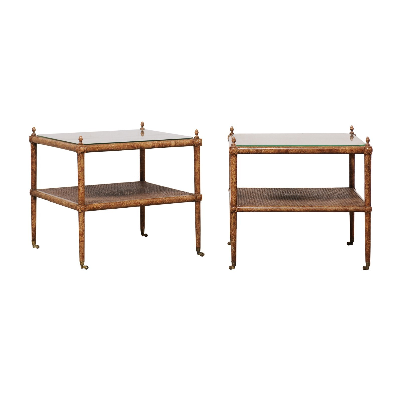 A Pair Woven Cane 2-Tier Square Side Tables