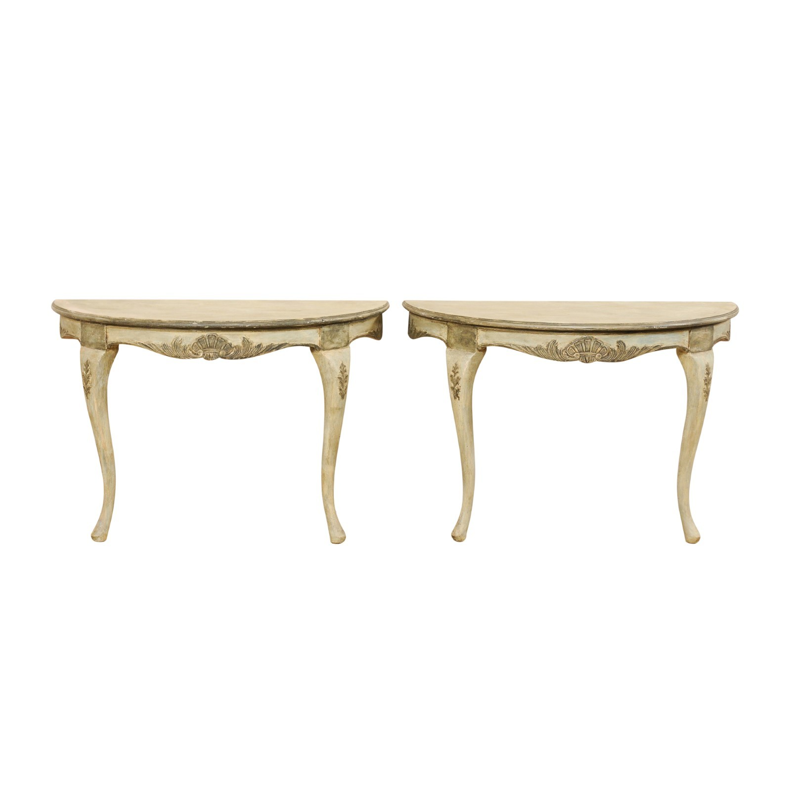 Pair Swedish Wall-Mounted Demi Lune Tables