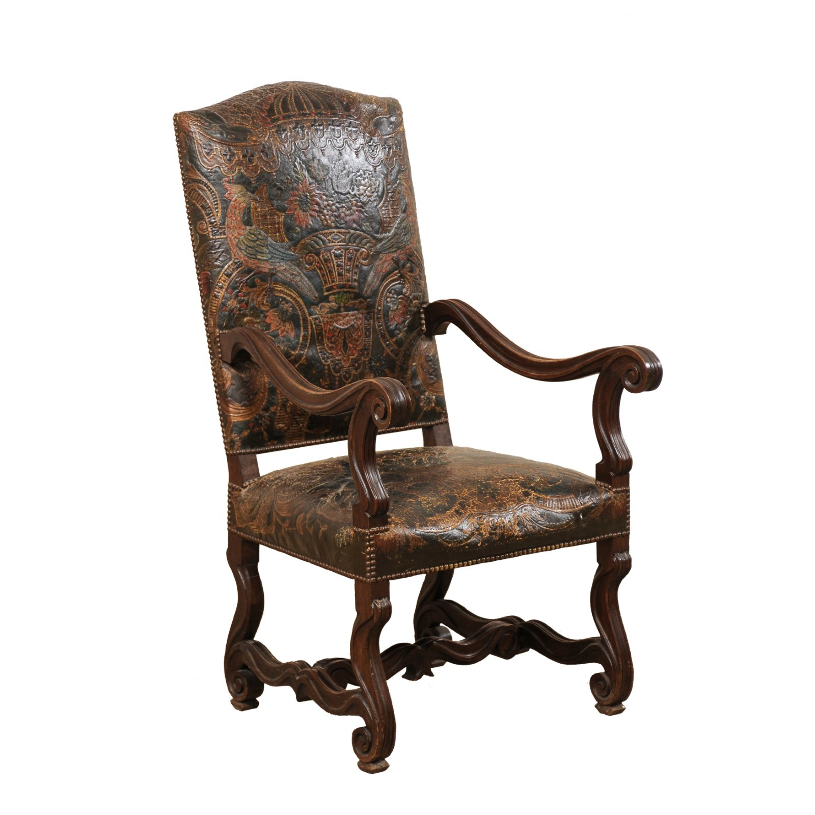 Embossed Leather & Carved Wood Chair, Italy