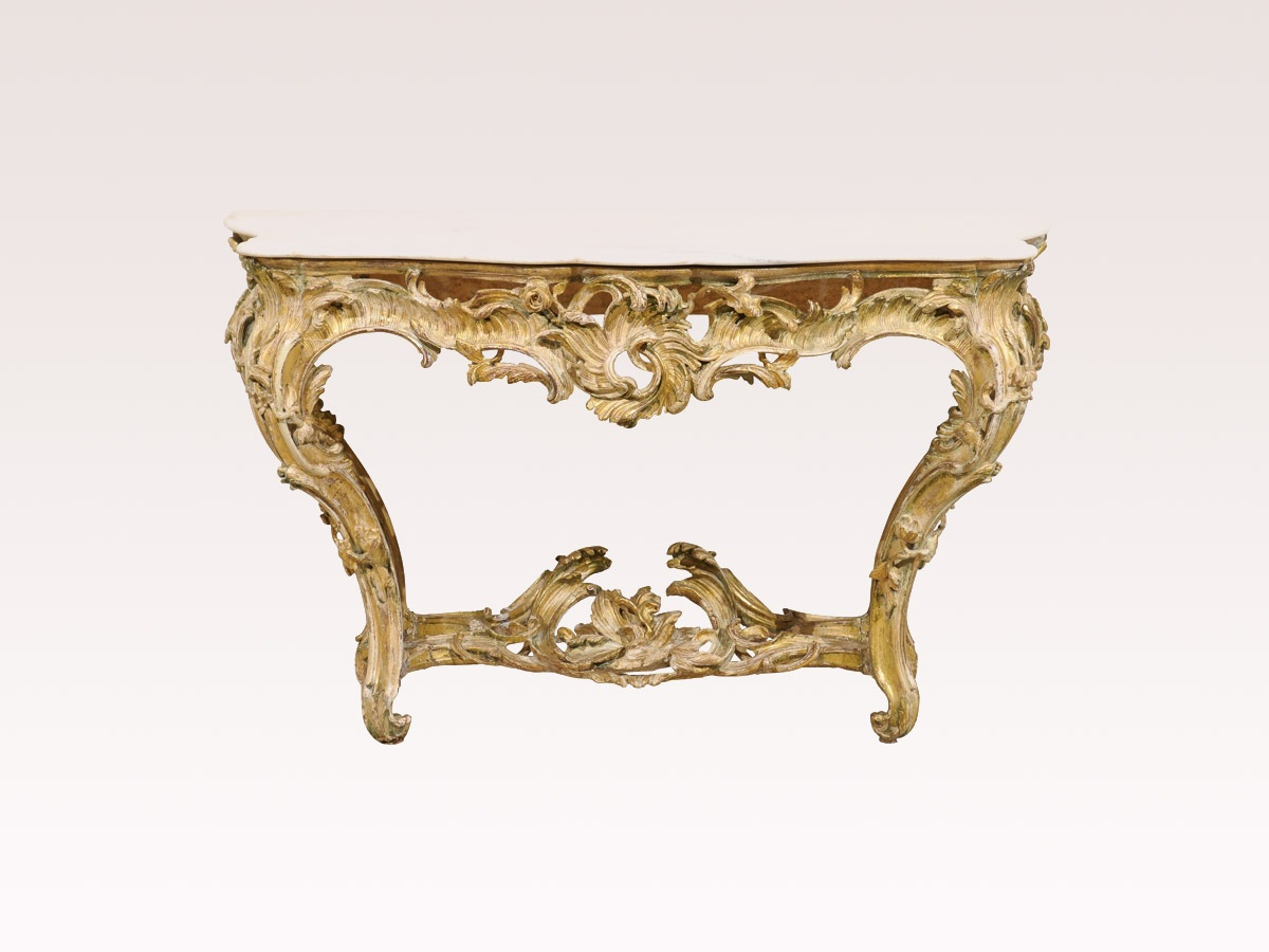 Rocaille Marble Top Console Table