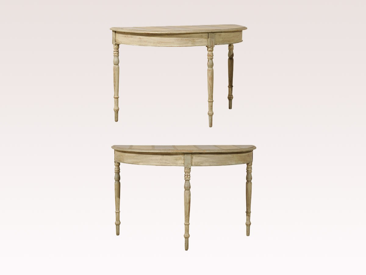 Pair of 19th C. Demi-Lune Tables