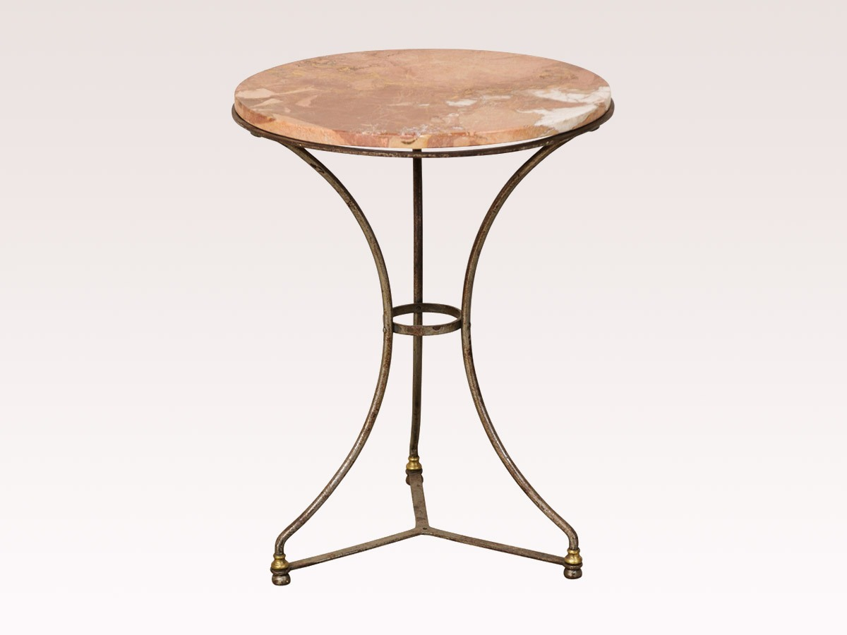 French Round Marble Top Table