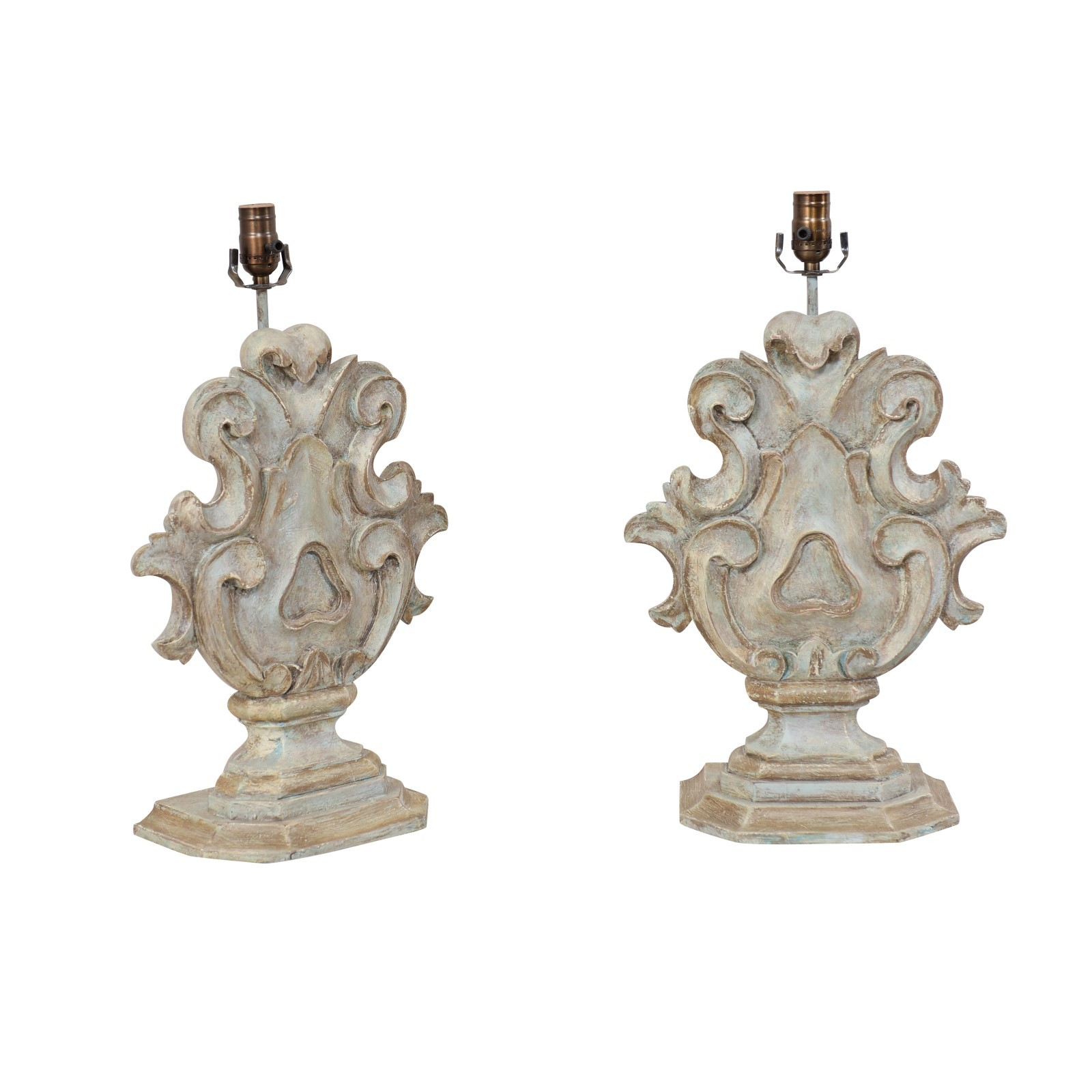 Italian Style Carved Wood Table Lamps