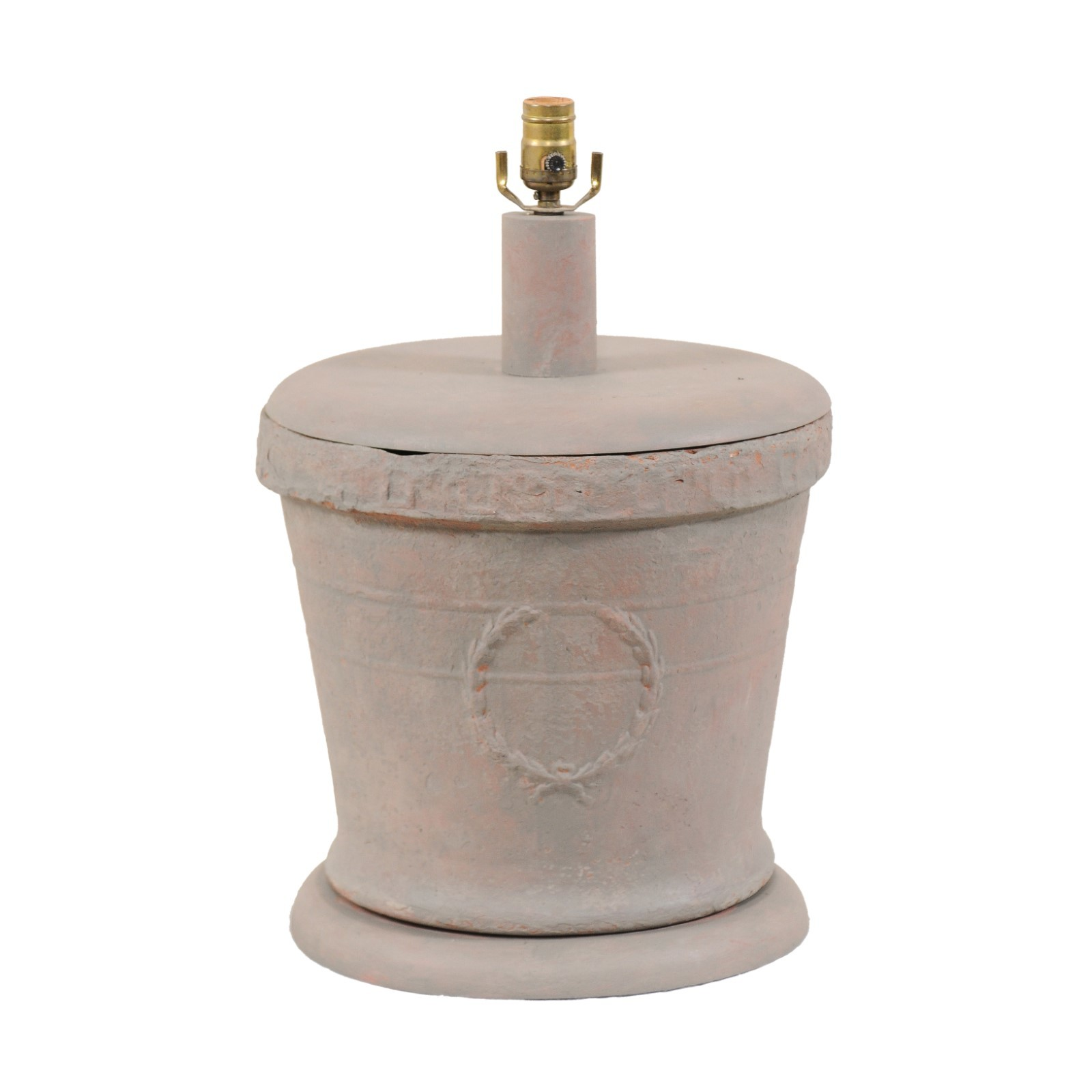 French Clay Pot Table Lamp w/Laurel Wreath