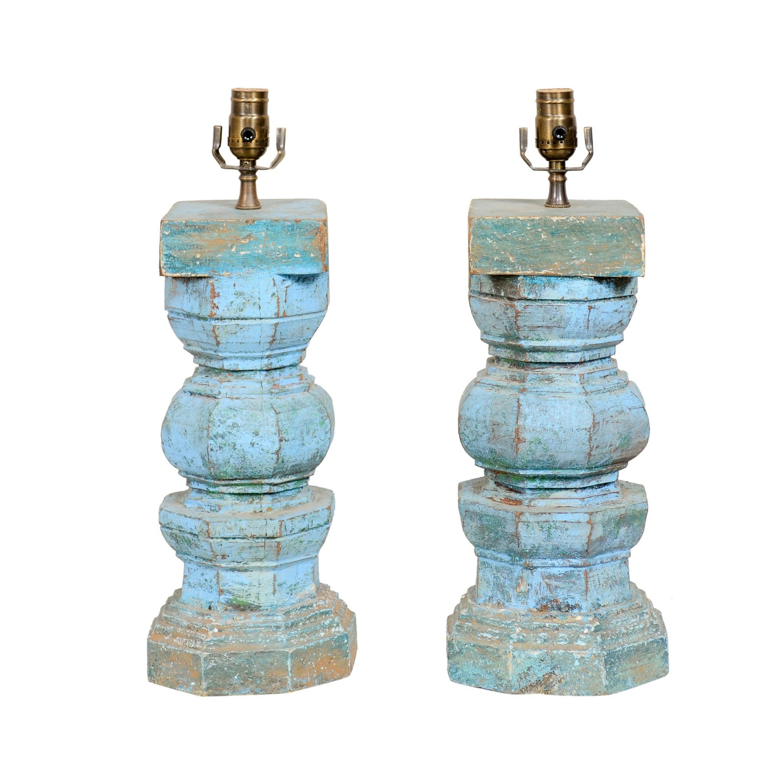 A Pair Wood Carved Blue Table Lamps
