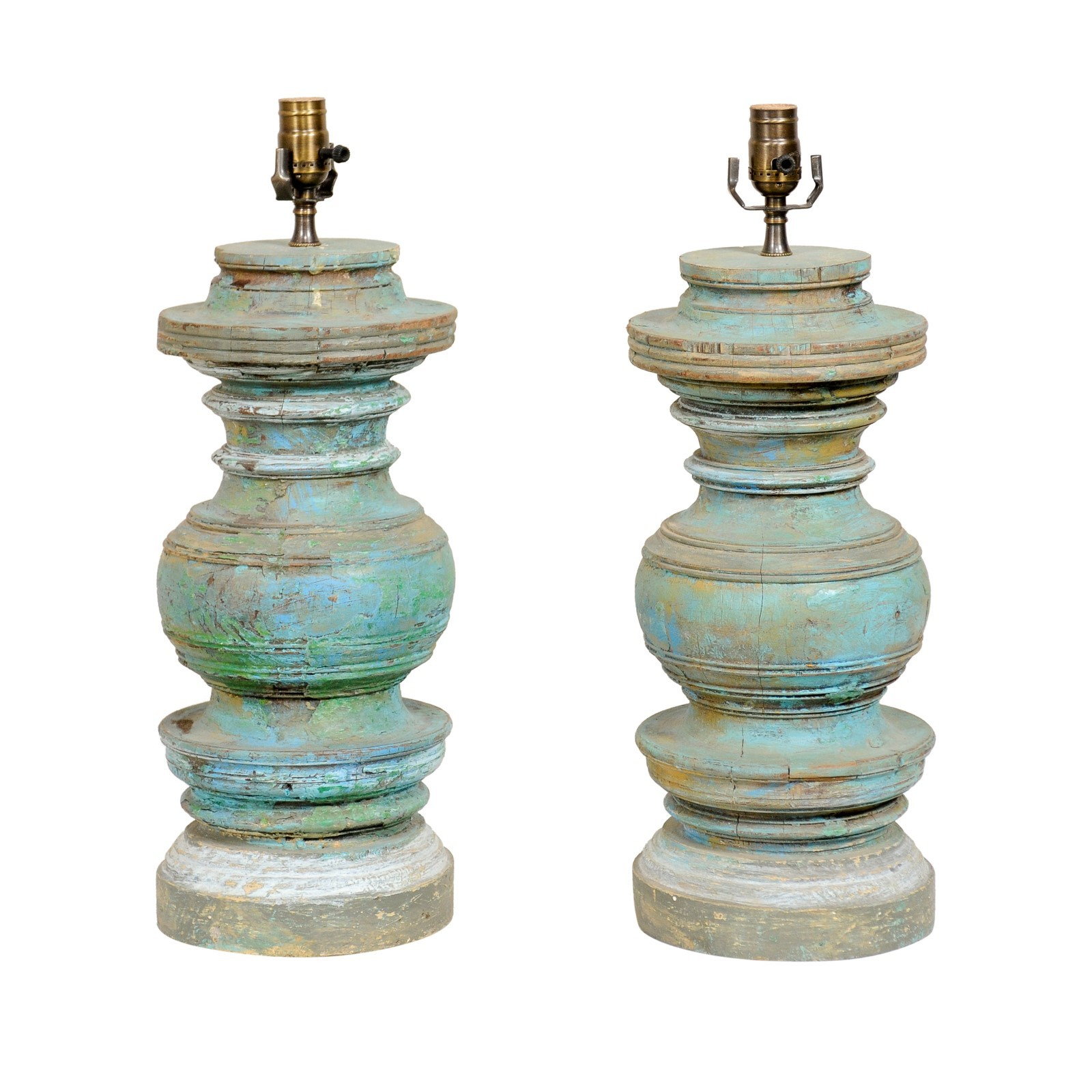 Turned & Painted Wood Column Table Lamps
