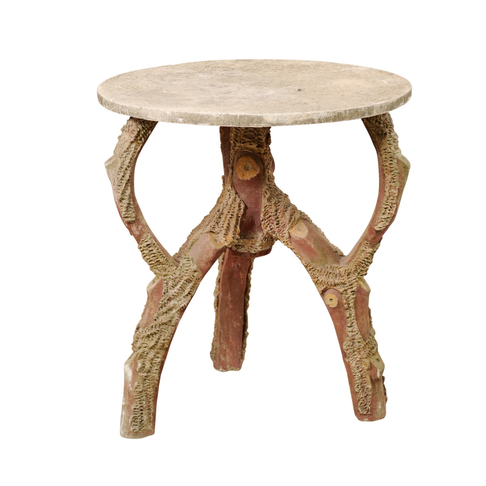 "French Faux Bois Table w/ 29"" Round Top"