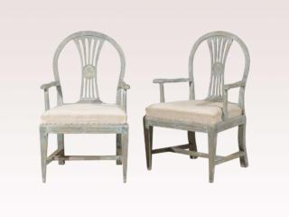 Period Gustavian Armchairs, Pair